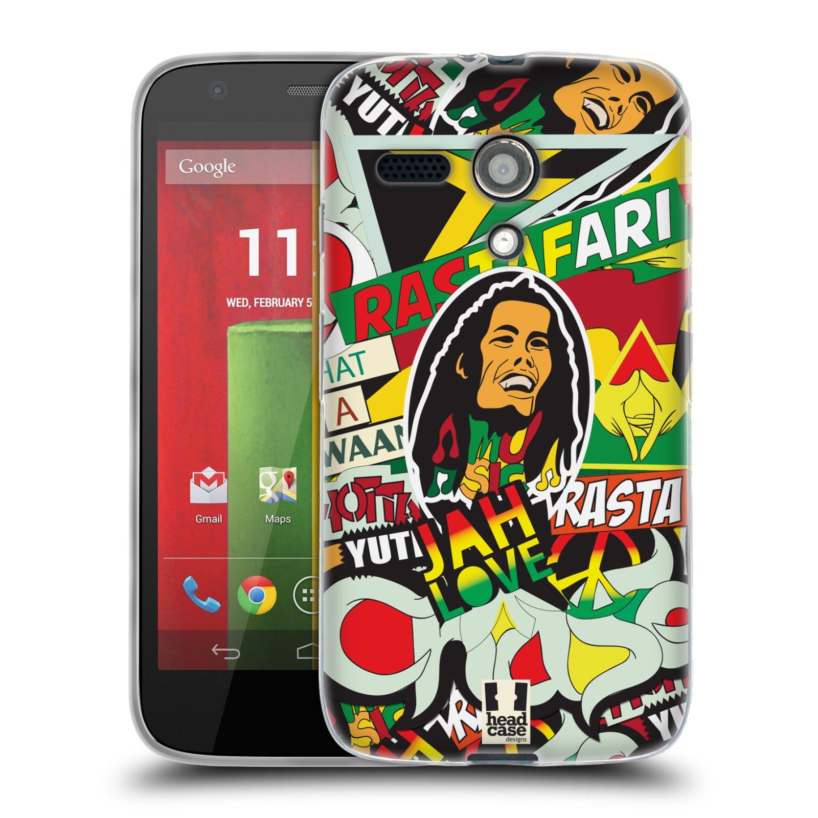 Silikonové pouzdro na mobil Motorola Moto G HEAD CASE RASTA (Silikonový kryt či obal na mobilní telefon Motorola Moto G)