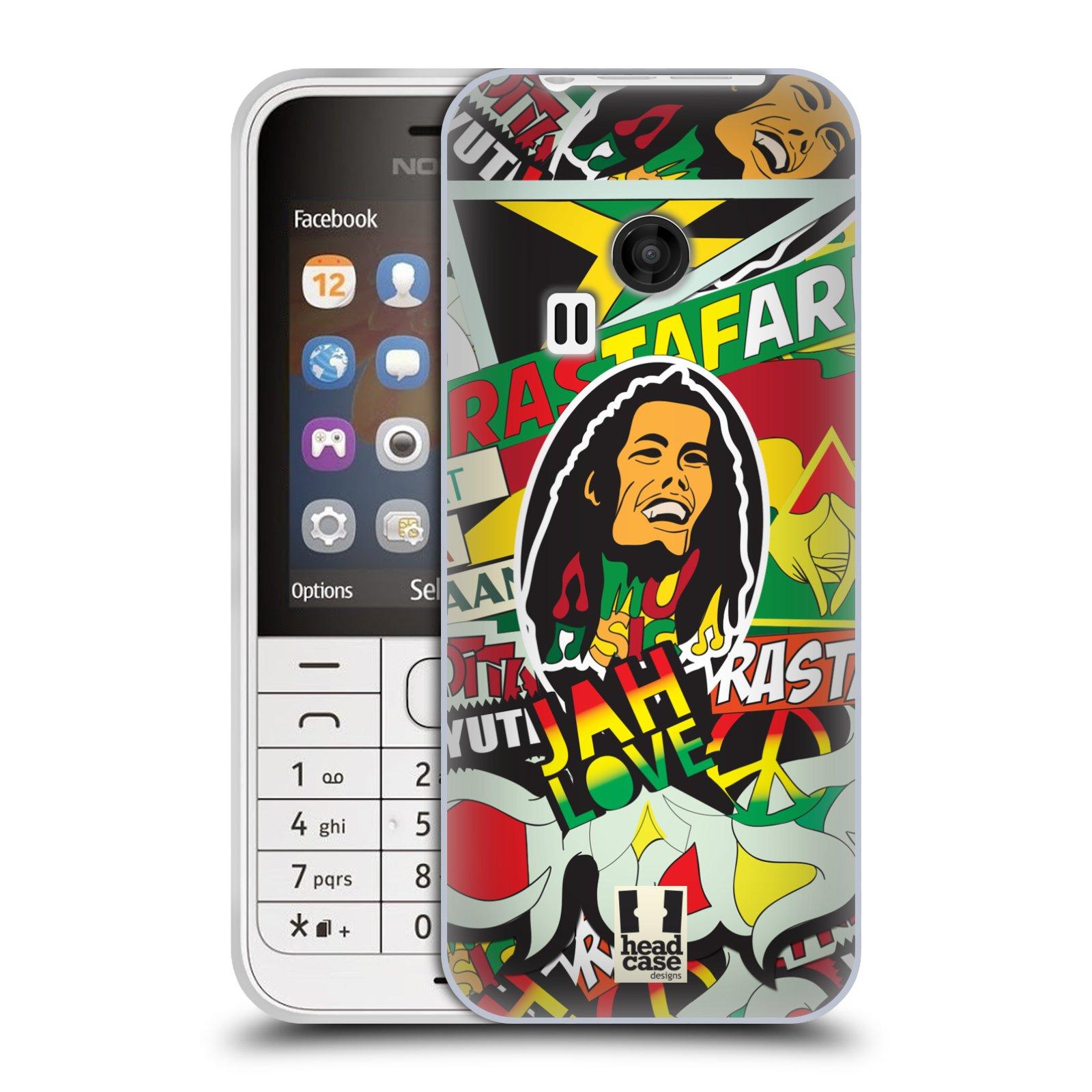 Silikonové pouzdro na mobil Nokia 220 HEAD CASE RASTA (Silikonový kryt či obal na mobilní telefon Nokia 220 a 220 Dual SIM)