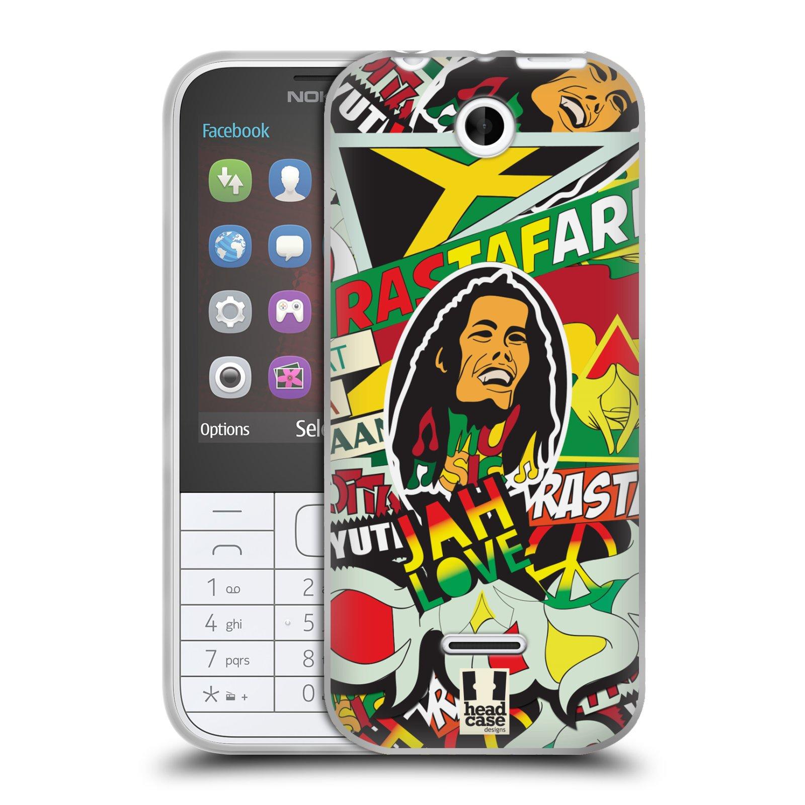 Silikonové pouzdro na mobil Nokia 225 HEAD CASE RASTA (Silikonový kryt či obal na mobilní telefon Nokia 225)