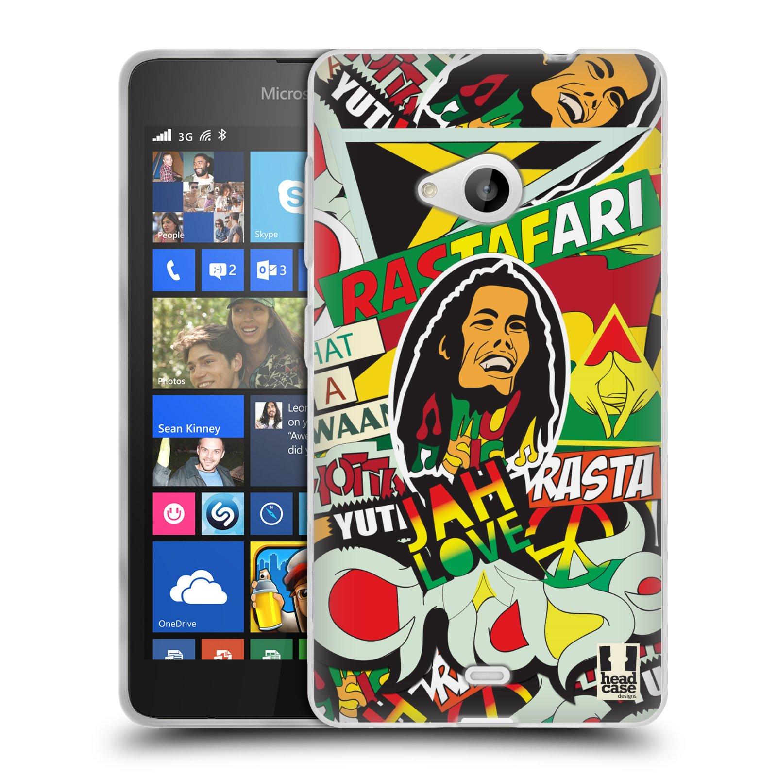 Silikonové pouzdro na mobil Microsoft Lumia 535 HEAD CASE RASTA (Silikonový kryt či obal na mobilní telefon Microsoft Lumia 535)