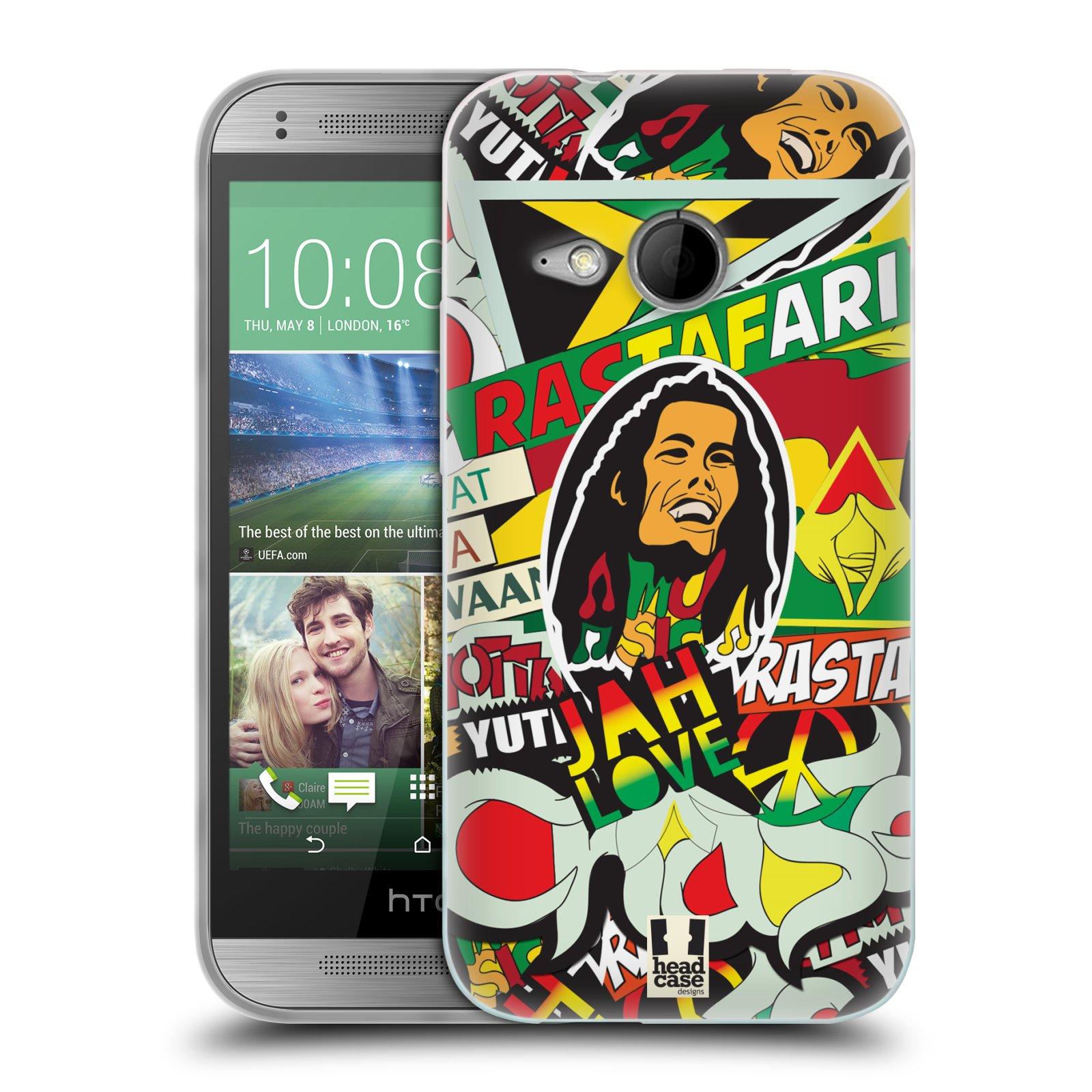 Silikonové pouzdro na mobil HTC ONE Mini 2 HEAD CASE RASTA (Silikonový kryt či obal na mobilní telefon HTC ONE Mini 2)