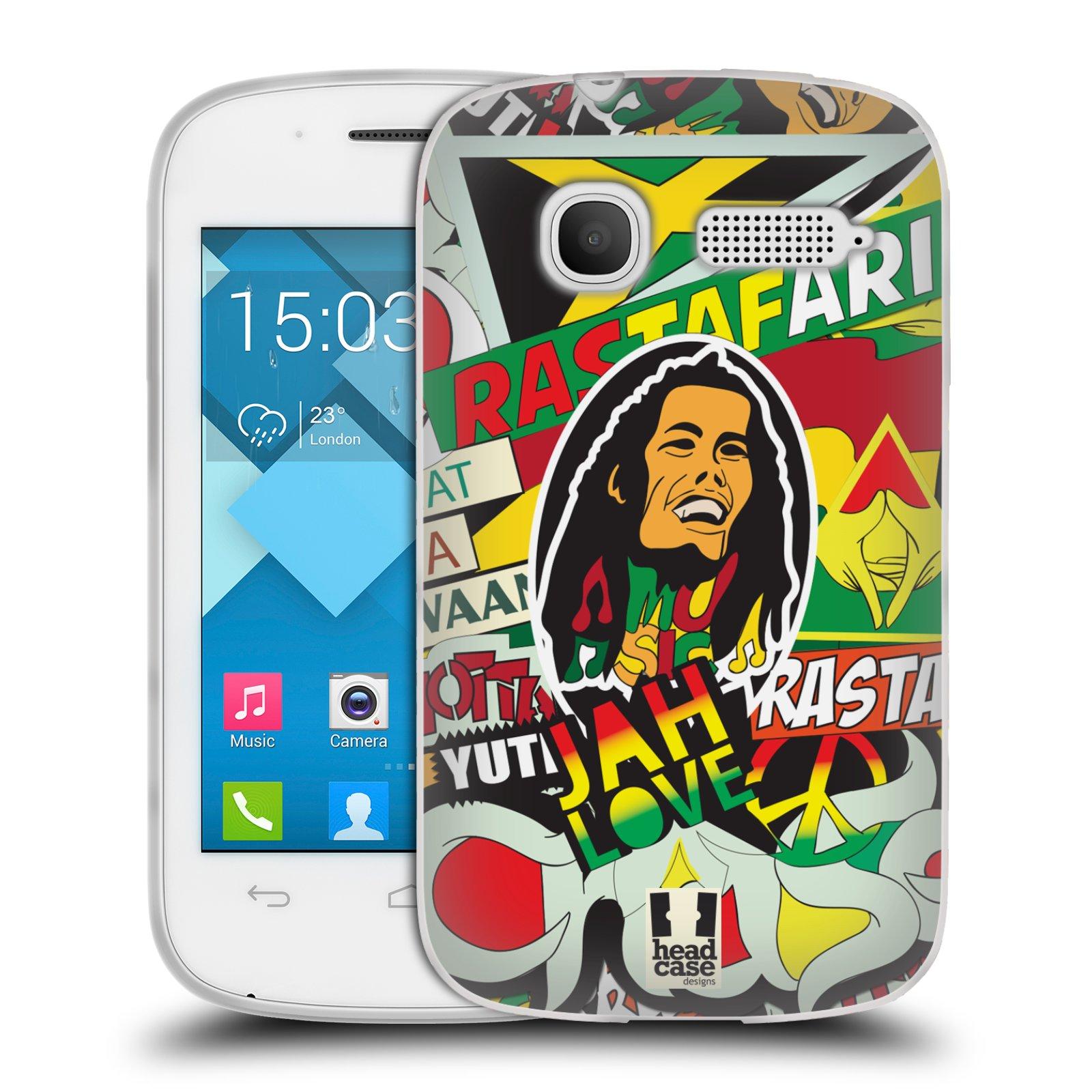 Silikonové pouzdro na mobil Alcatel One Touch Pop C1 HEAD CASE RASTA (Silikonový kryt či obal na mobilní telefon Alcatel OT-4015D POP C1)