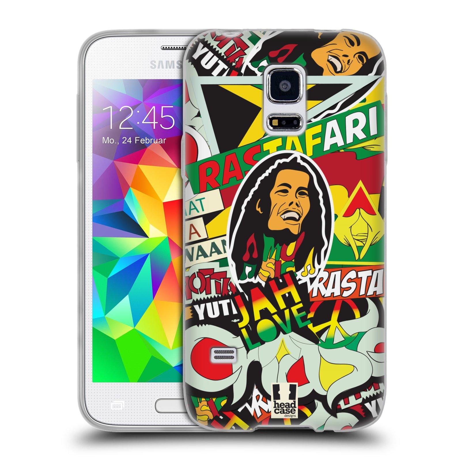 Silikonové pouzdro na mobil Samsung Galaxy S5 Mini HEAD CASE RASTA (Silikonový kryt či obal na mobilní telefon Samsung Galaxy S5 Mini SM-G800F)