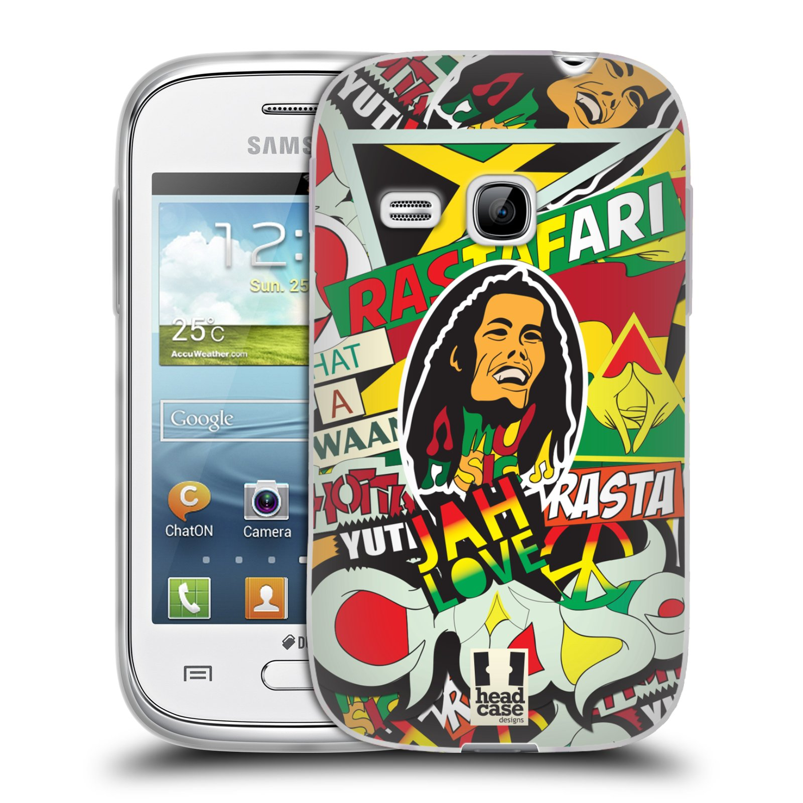 Silikonové pouzdro na mobil Samsung Galaxy Young HEAD CASE RASTA (Silikonový kryt či obal na mobilní telefon Samsung Galaxy Young GT-S6310)