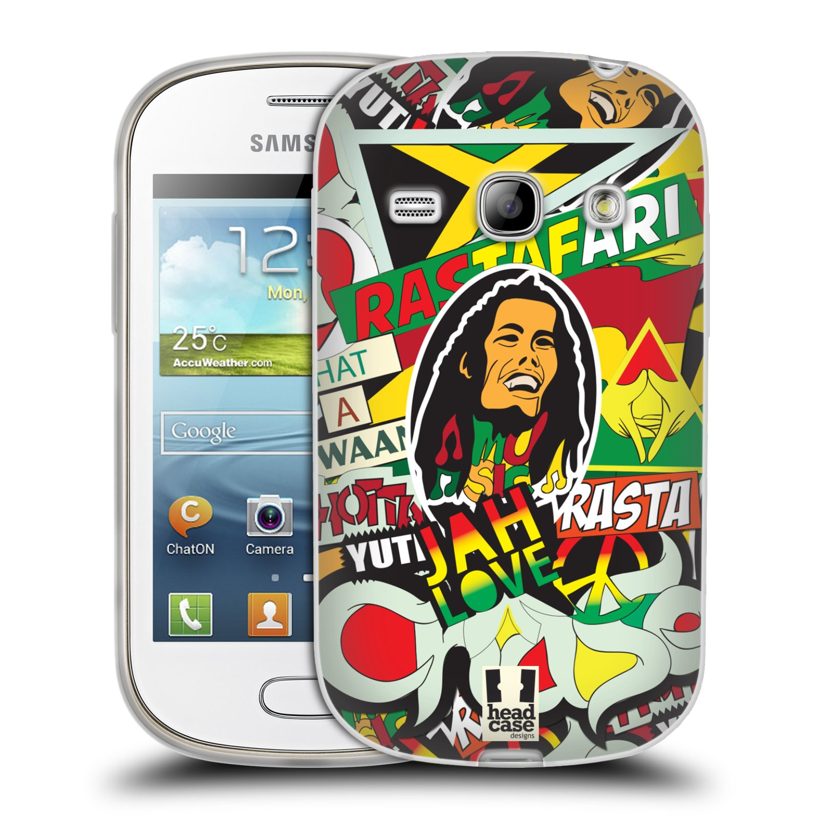 Silikonové pouzdro na mobil Samsung Galaxy Fame HEAD CASE RASTA (Silikonový kryt či obal na mobilní telefon Samsung Galaxy Fame GT-S6810)