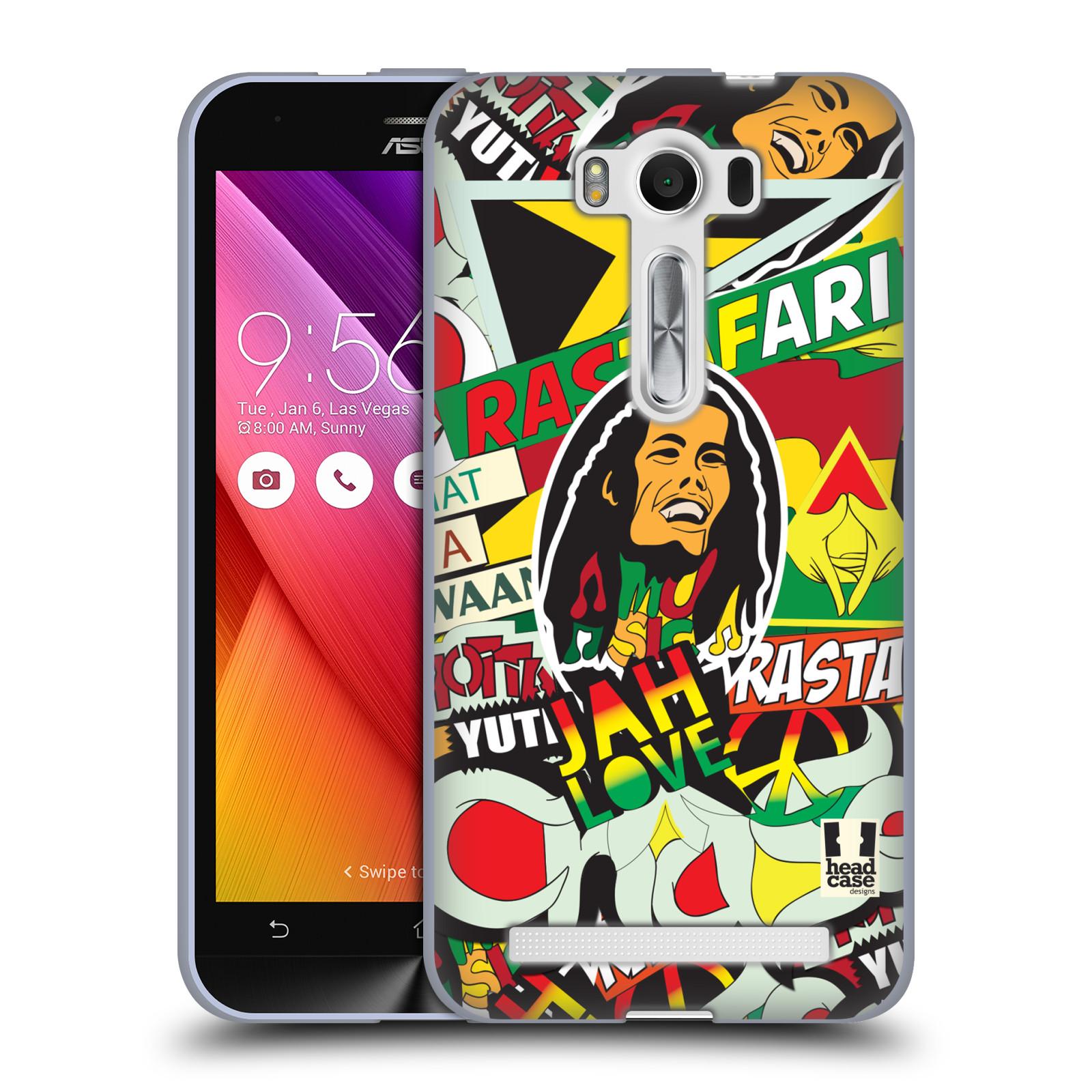 """Silikonové pouzdro na mobil Asus ZenFone 2 Laser ZE500KL HEAD CASE RASTA (Silikonový kryt či obal na mobilní telefon Asus ZenFone 2 Laser ZE500KL s 5"""" displejem)"""