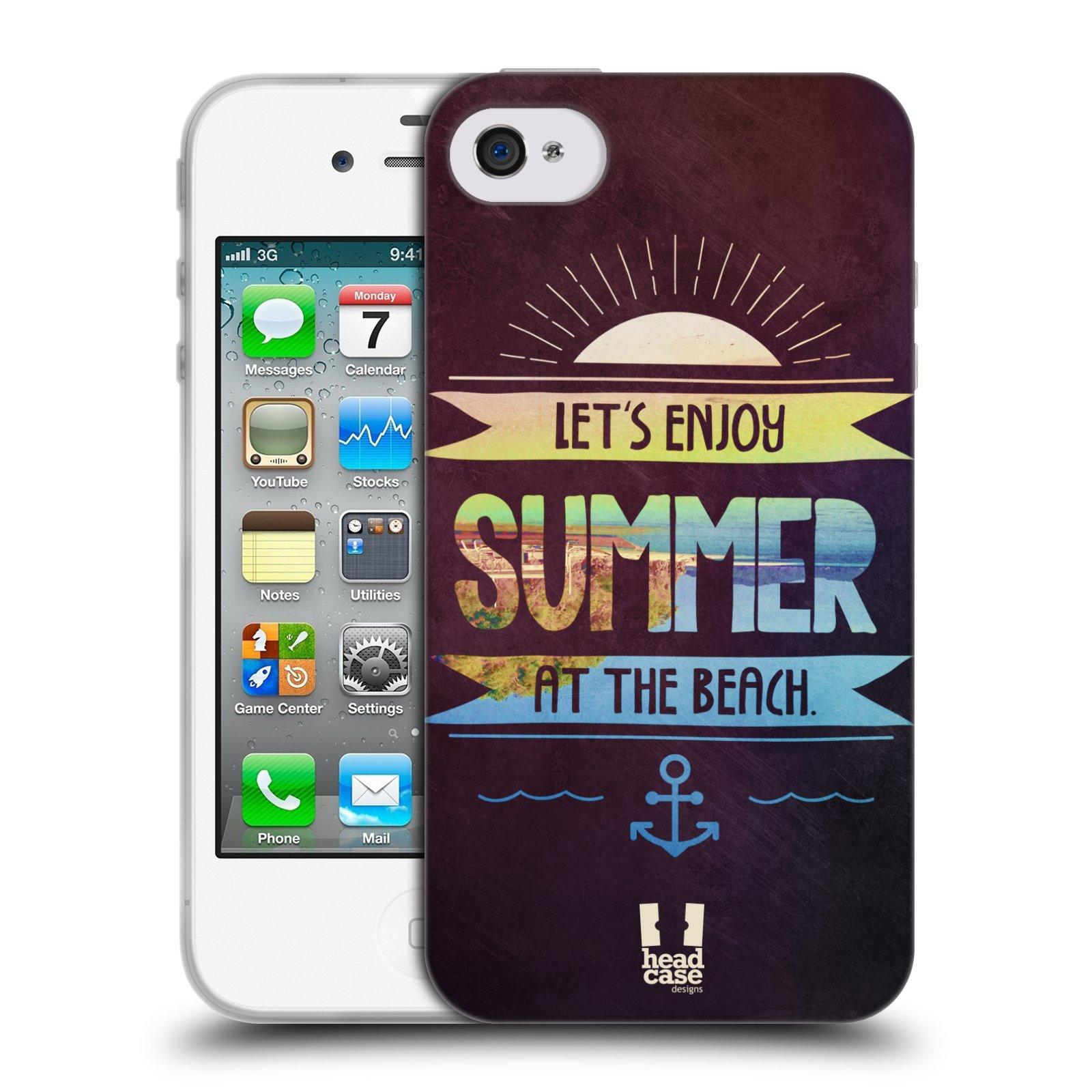 Silikonové pouzdro na mobil Apple iPhone 4 a 4S HEAD CASE Užij si léto na pláži (Silikonový kryt či obal na mobilní telefon Apple iPhone 4 a 4S)