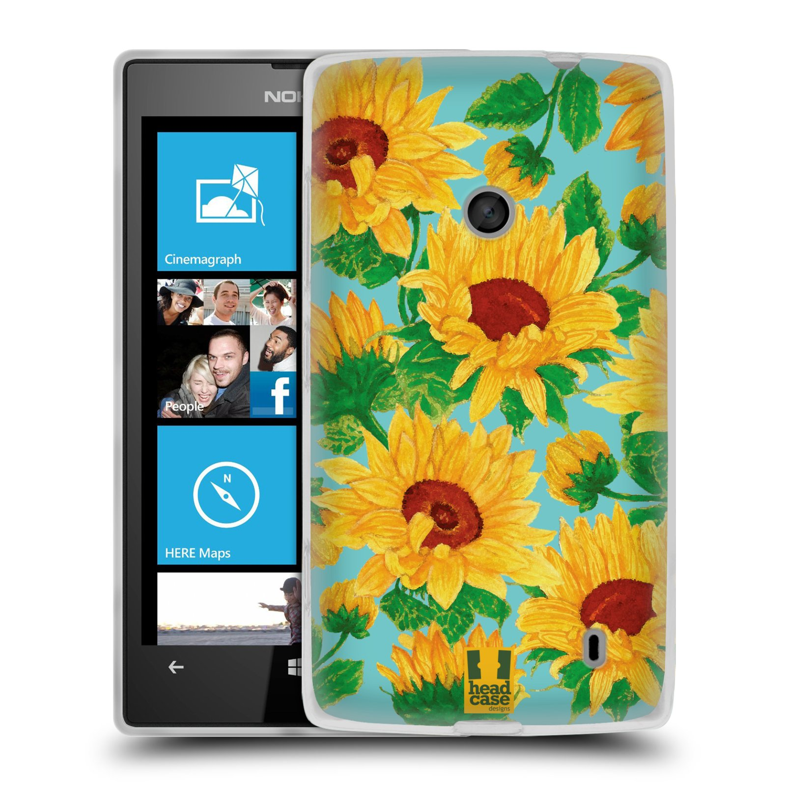 Silikonové pouzdro na mobil Nokia Lumia 520 HEAD CASE Slunečnice (Silikonový Kryt či obal na mobilní telefon Nokia Lumia 520)