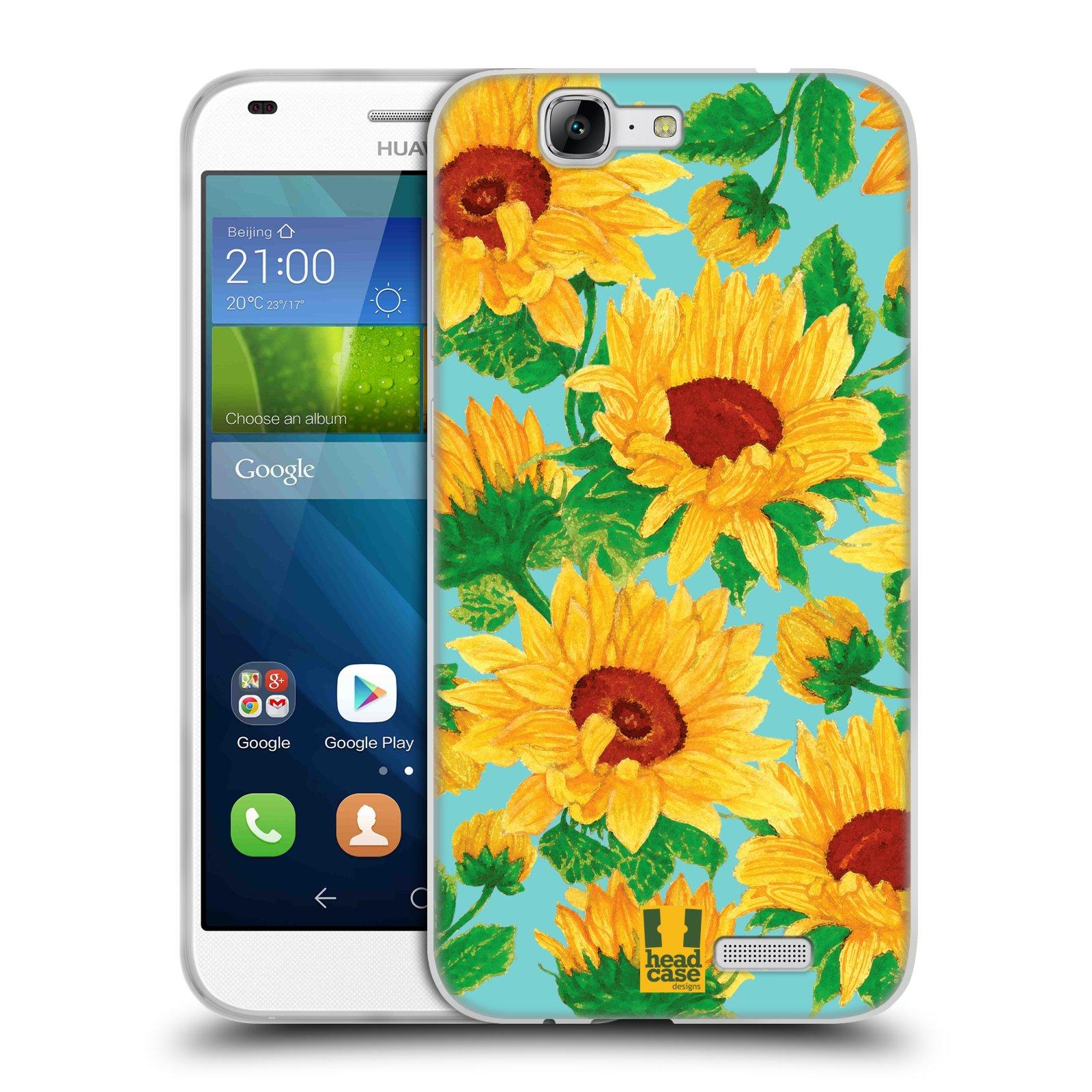 Silikonové pouzdro na mobil Huawei Ascend G7 HEAD CASE Slunečnice (Silikonový kryt či obal na mobilní telefon Huawei Ascend G7)