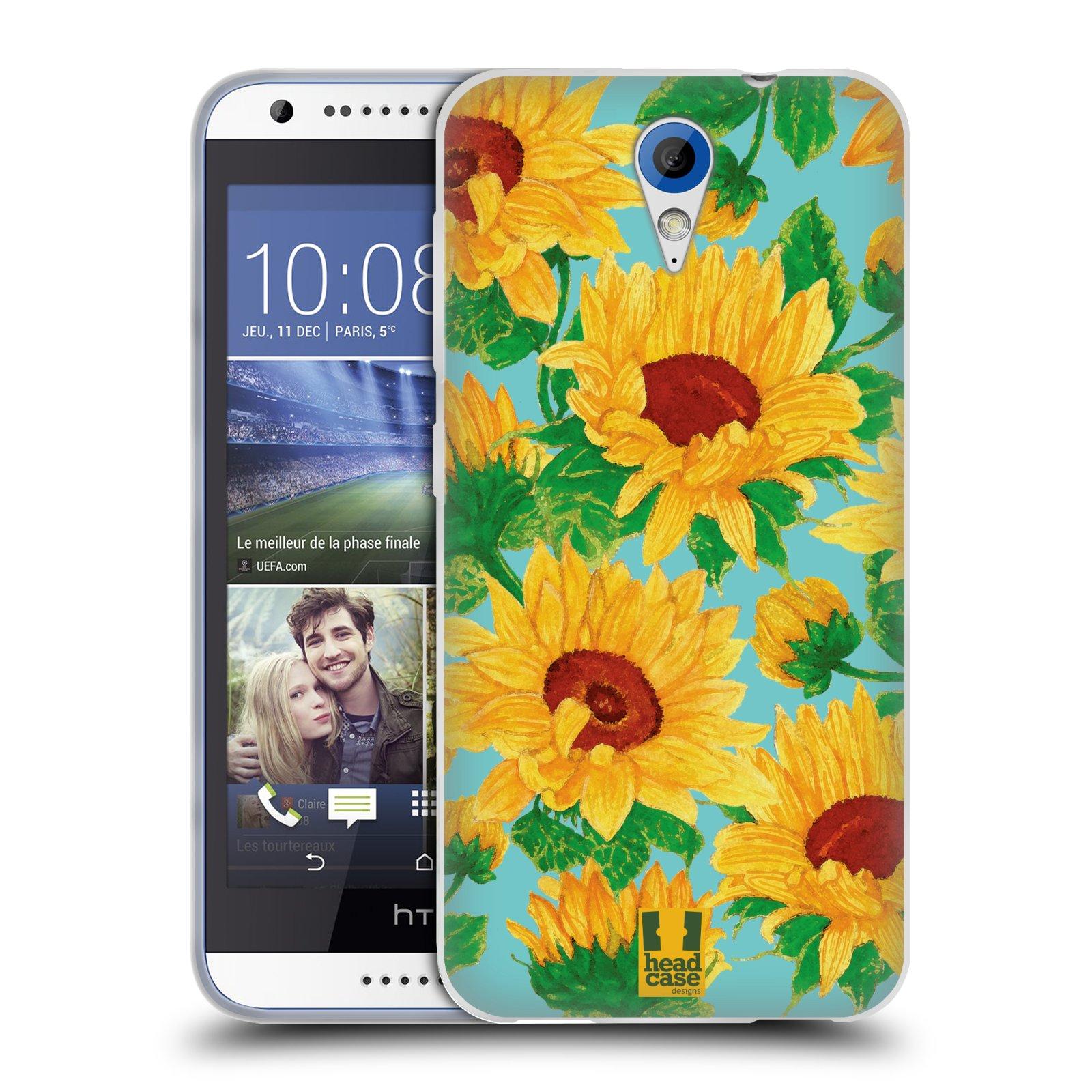 Silikonové pouzdro na mobil HTC Desire 620 HEAD CASE Slunečnice (Silikonový kryt či obal na mobilní telefon HTC Desire 620)