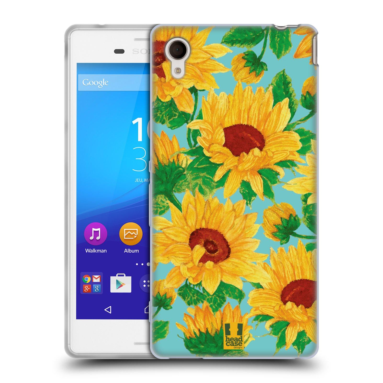 Silikonové pouzdro na mobil Sony Xperia M4 Aqua E2303 HEAD CASE Slunečnice (Silikonový kryt či obal na mobilní telefon Sony Xperia M4 Aqua a M4 Aqua Dual SIM)