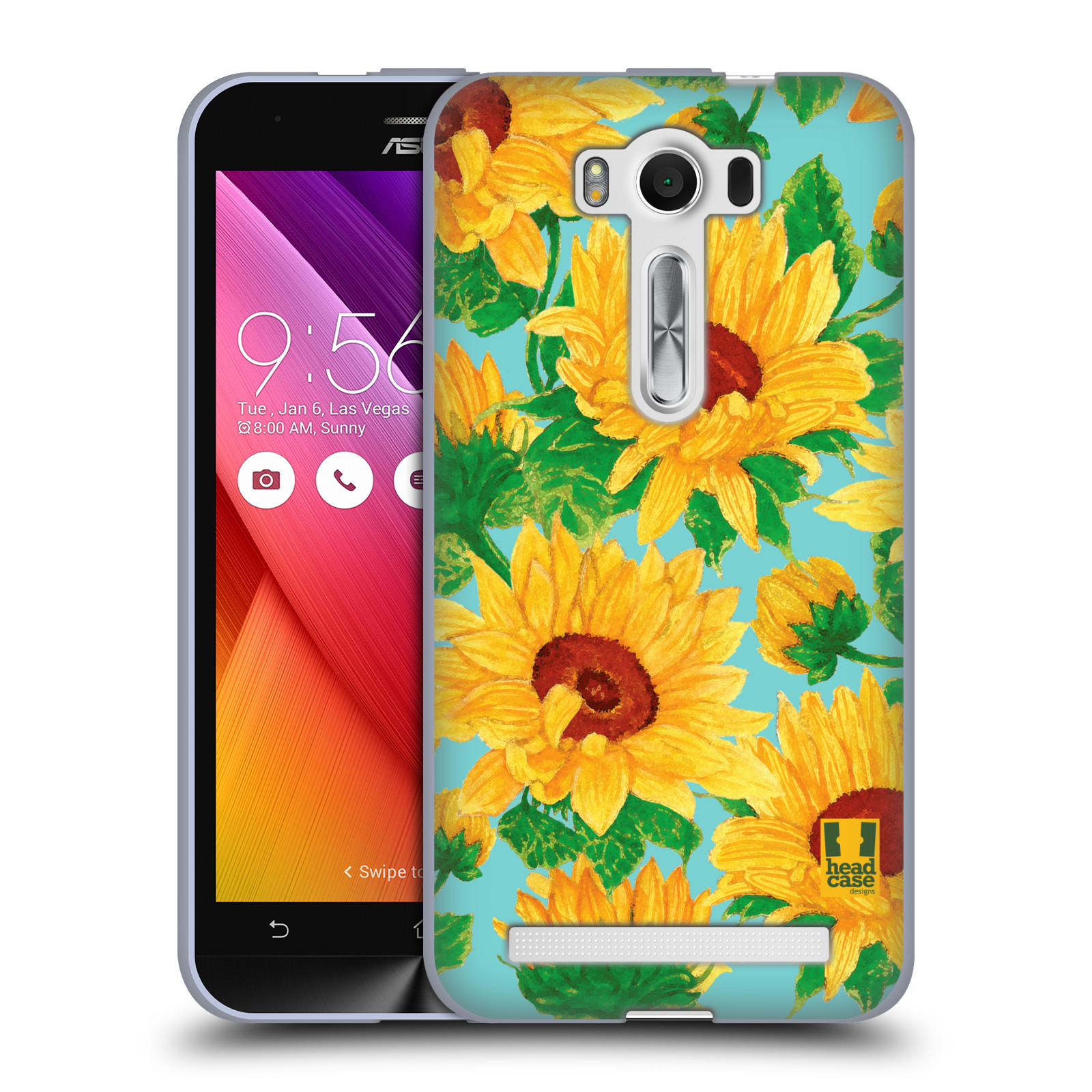 "Silikonové pouzdro na mobil Asus ZenFone 2 Laser ZE500KL HEAD CASE Slunečnice (Silikonový kryt či obal na mobilní telefon Asus ZenFone 2 Laser ZE500KL s 5"" displejem)"