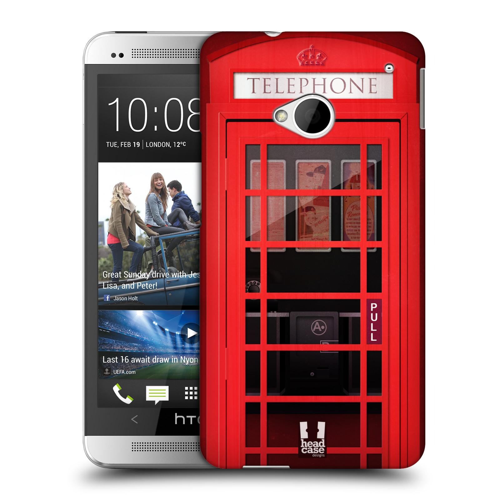 Plastové pouzdro na mobil HTC ONE M7 HEAD CASE TELEFONNÍ BUDKA