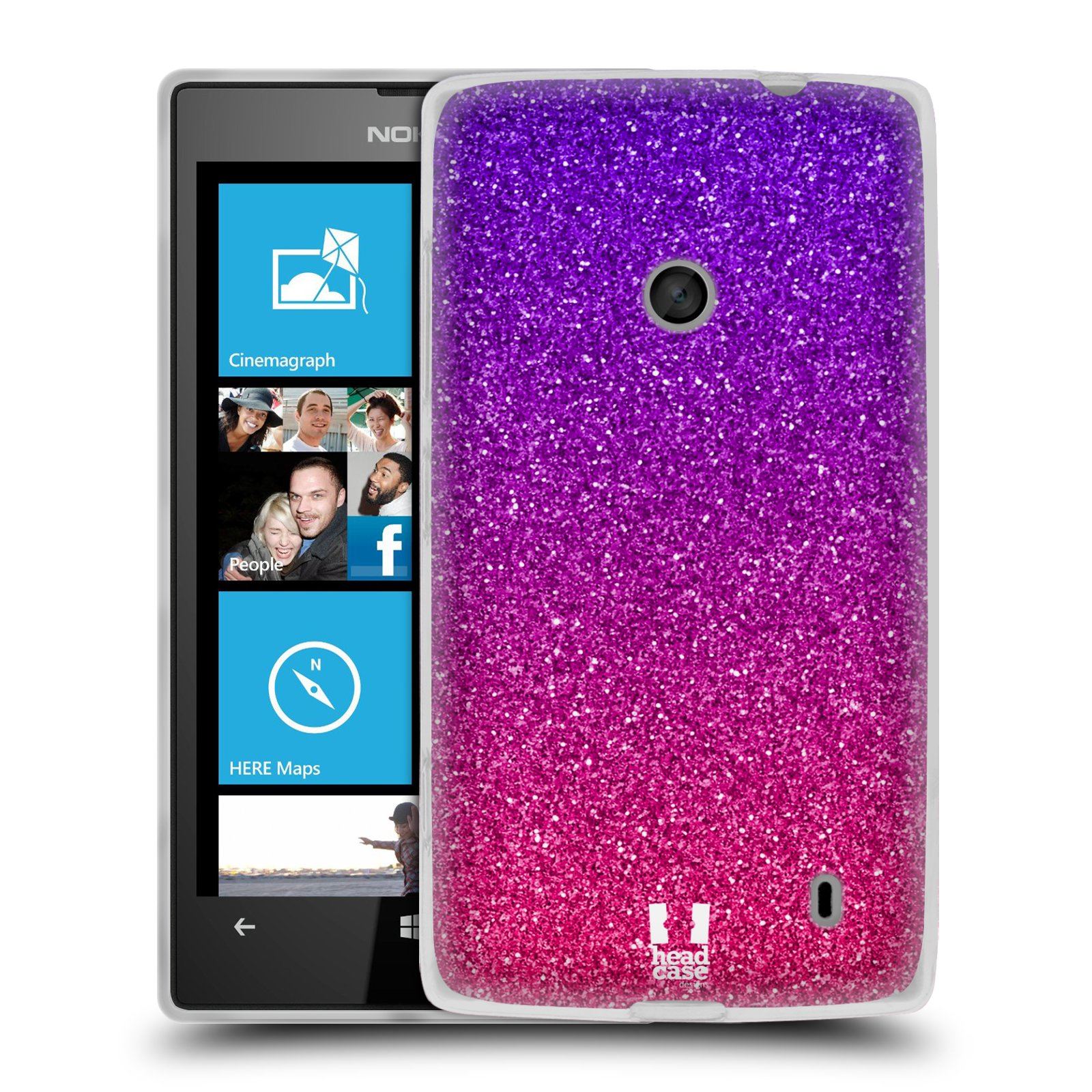 Silikonové pouzdro na mobil Nokia Lumia 520 HEAD CASE MIX PINK (Silikonový Kryt či obal na mobilní telefon Nokia Lumia 520)