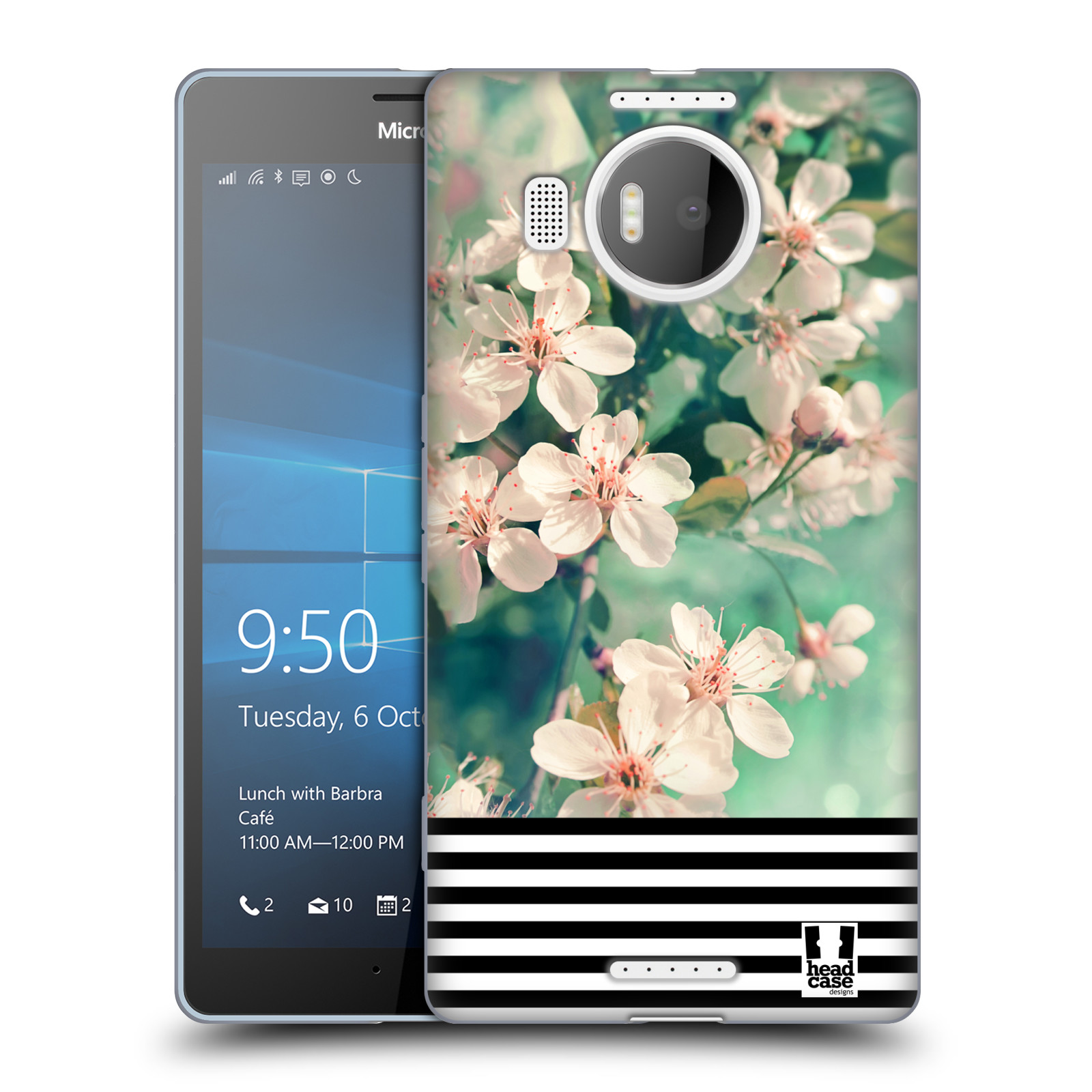 Silikonové pouzdro na mobil Microsoft Lumia 950 XL HEAD CASE MIX FLORAL STRIPES