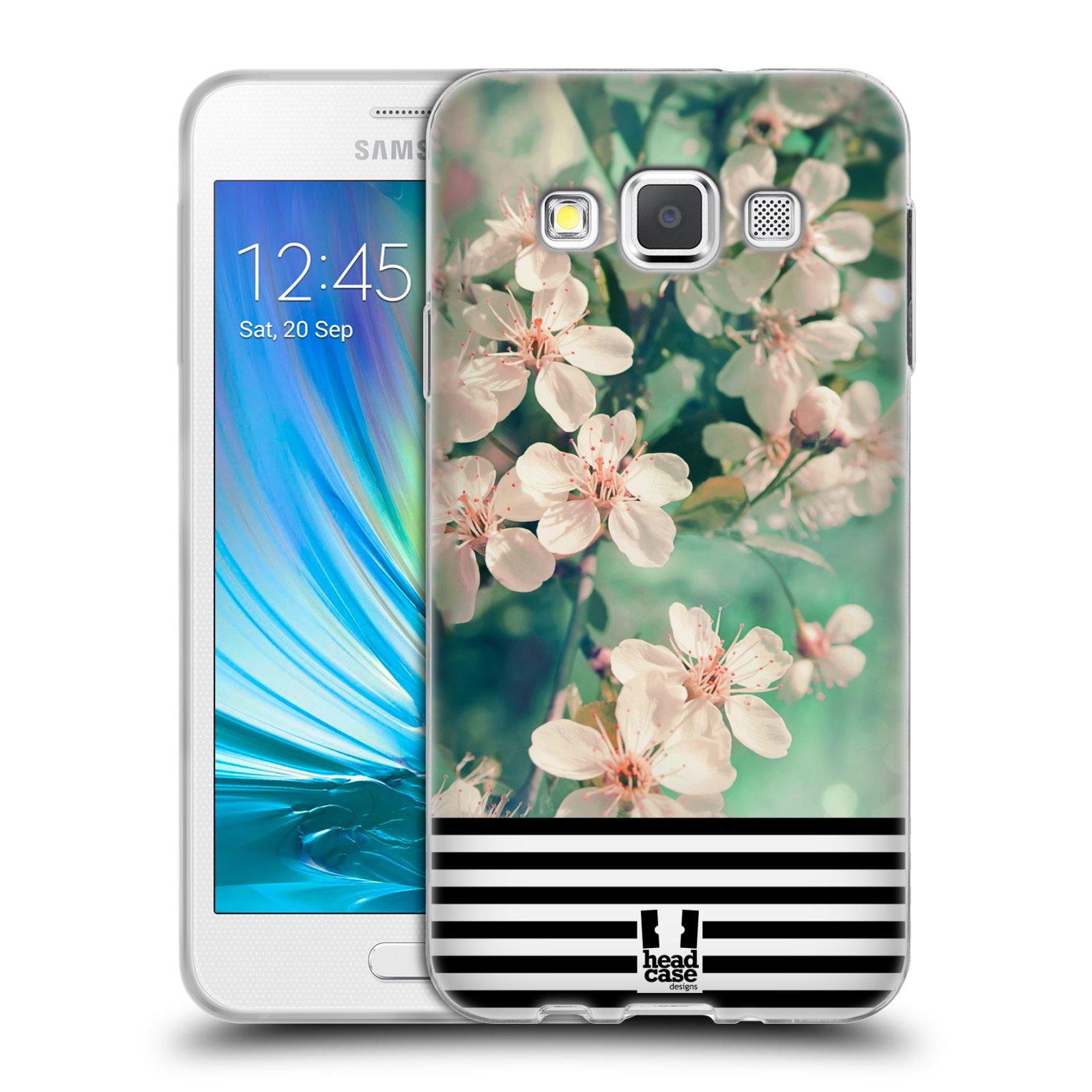 Silikonové pouzdro na mobil Samsung Galaxy A3 HEAD CASE MIX FLORAL STRIPES