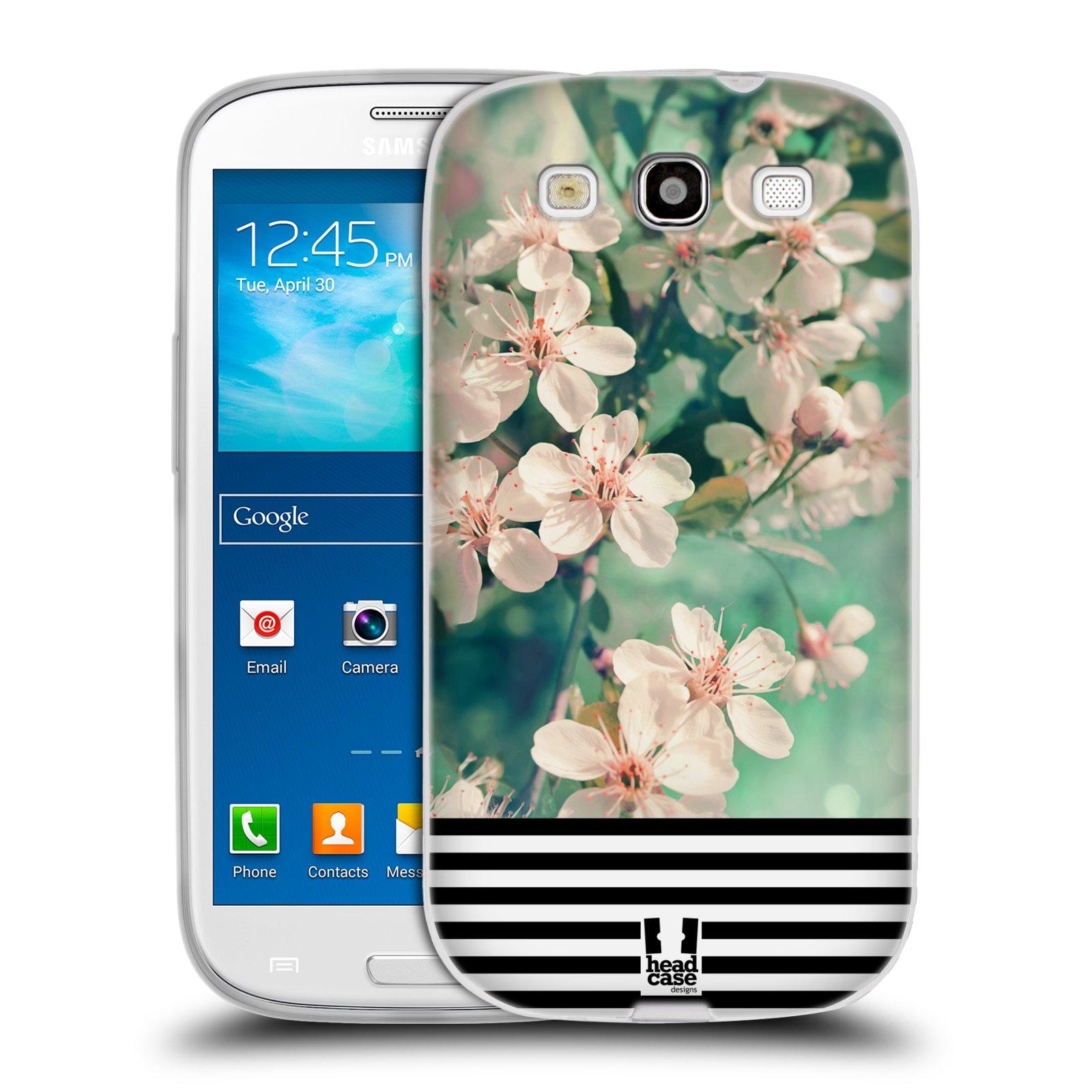 Silikonové pouzdro na mobil Samsung Galaxy S3 Neo HEAD CASE MIX FLORAL STRIPES (Silikonový kryt či obal na mobilní telefon Samsung Galaxy S3 Neo GT-i9301i)