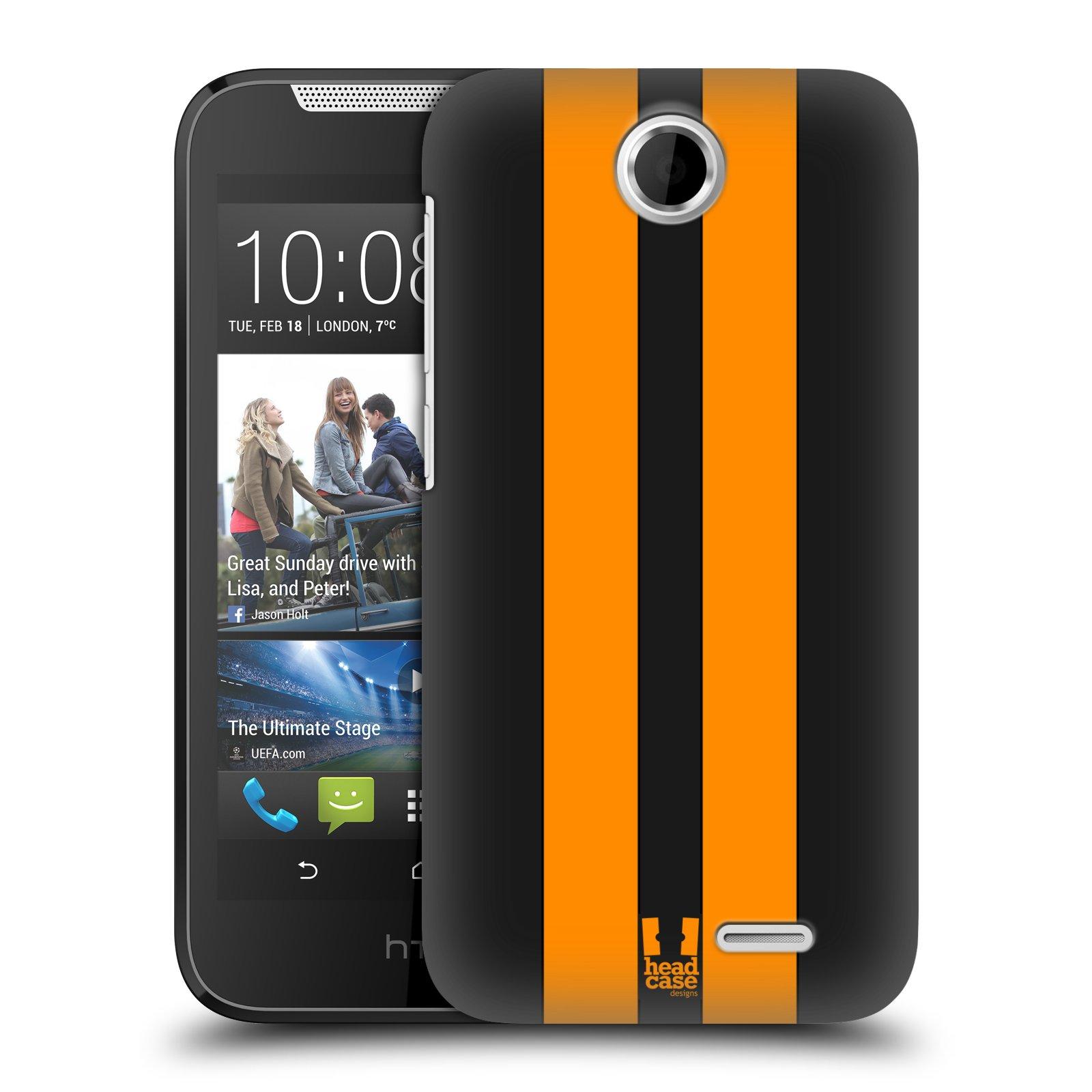 Plastové pouzdro na mobil HTC Desire 310 HEAD CASE ŽLUTÉ A ČERNÉ PRUHY (Kryt či obal na mobilní telefon HTC Desire 310)