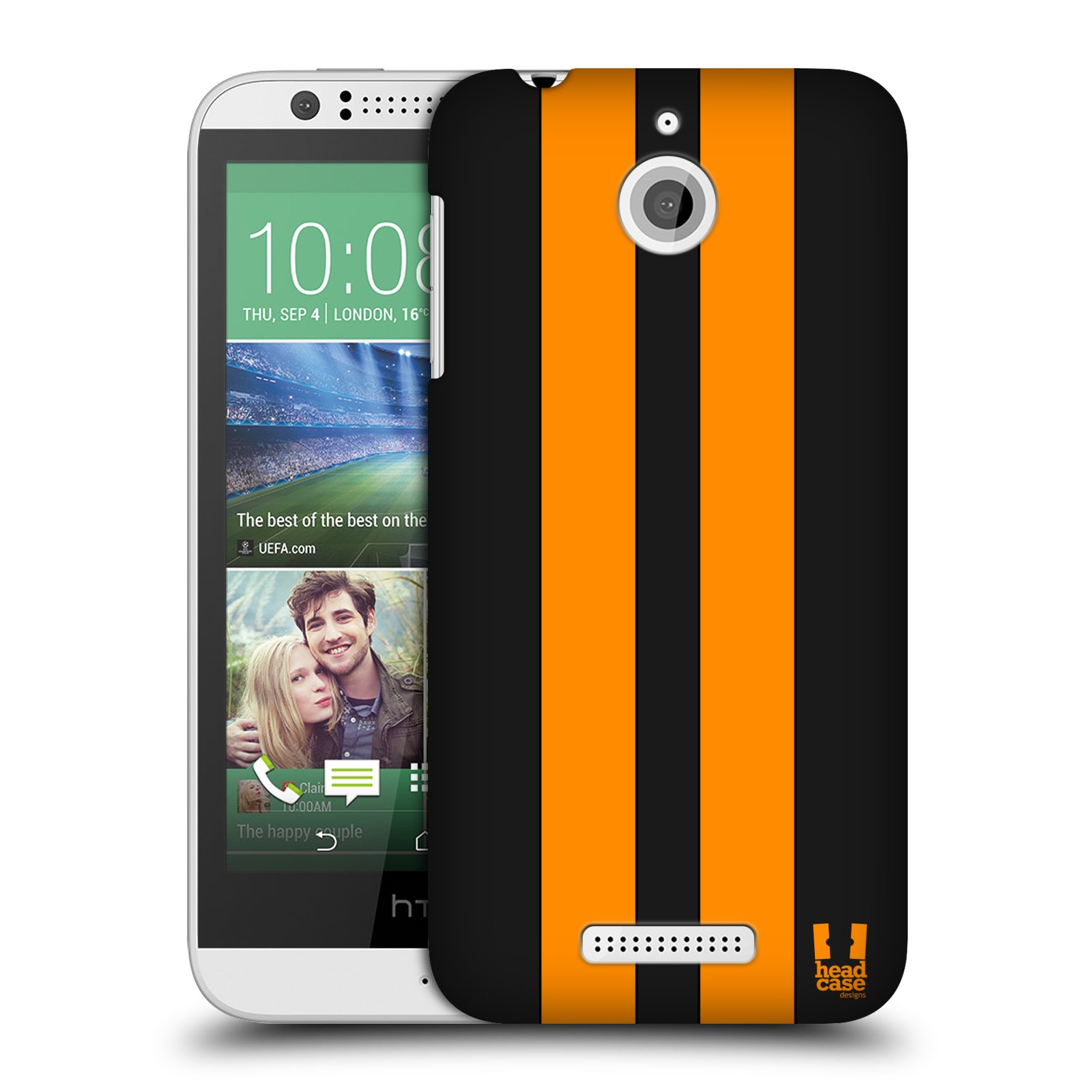Plastové pouzdro na mobil HTC Desire 510 HEAD CASE ŽLUTÉ A ČERNÉ PRUHY (Kryt či obal na mobilní telefon HTC Desire 510)