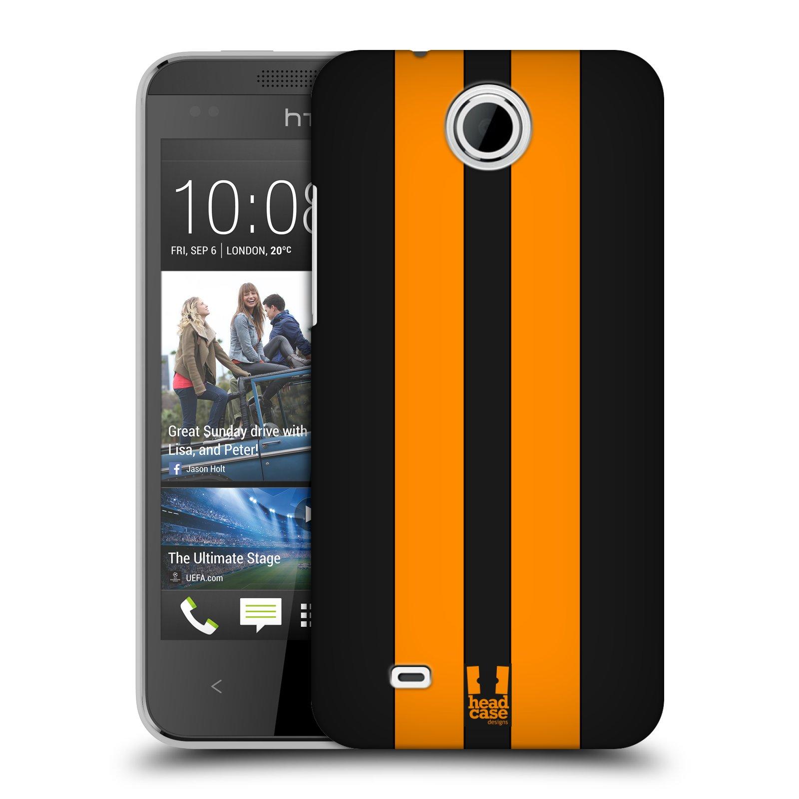 Plastové pouzdro na mobil HTC Desire 300 HEAD CASE ŽLUTÉ A ČERNÉ PRUHY (Kryt či obal na mobilní telefon HTC Desire 300)