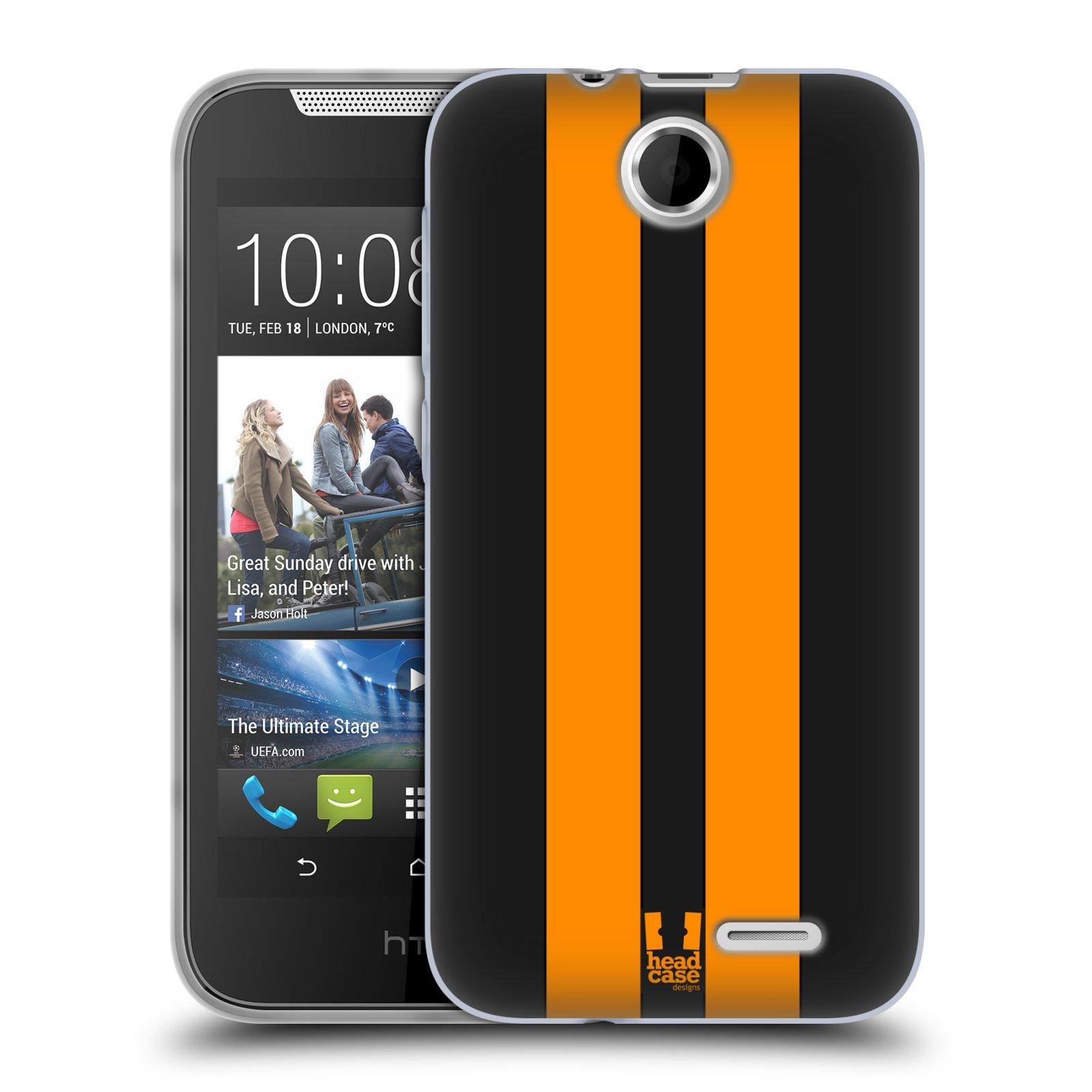 Silikonové pouzdro na mobil HTC Desire 310 HEAD CASE ŽLUTÉ A ČERNÉ PRUHY (Silikonový kryt či obal na mobilní telefon HTC Desire 310)