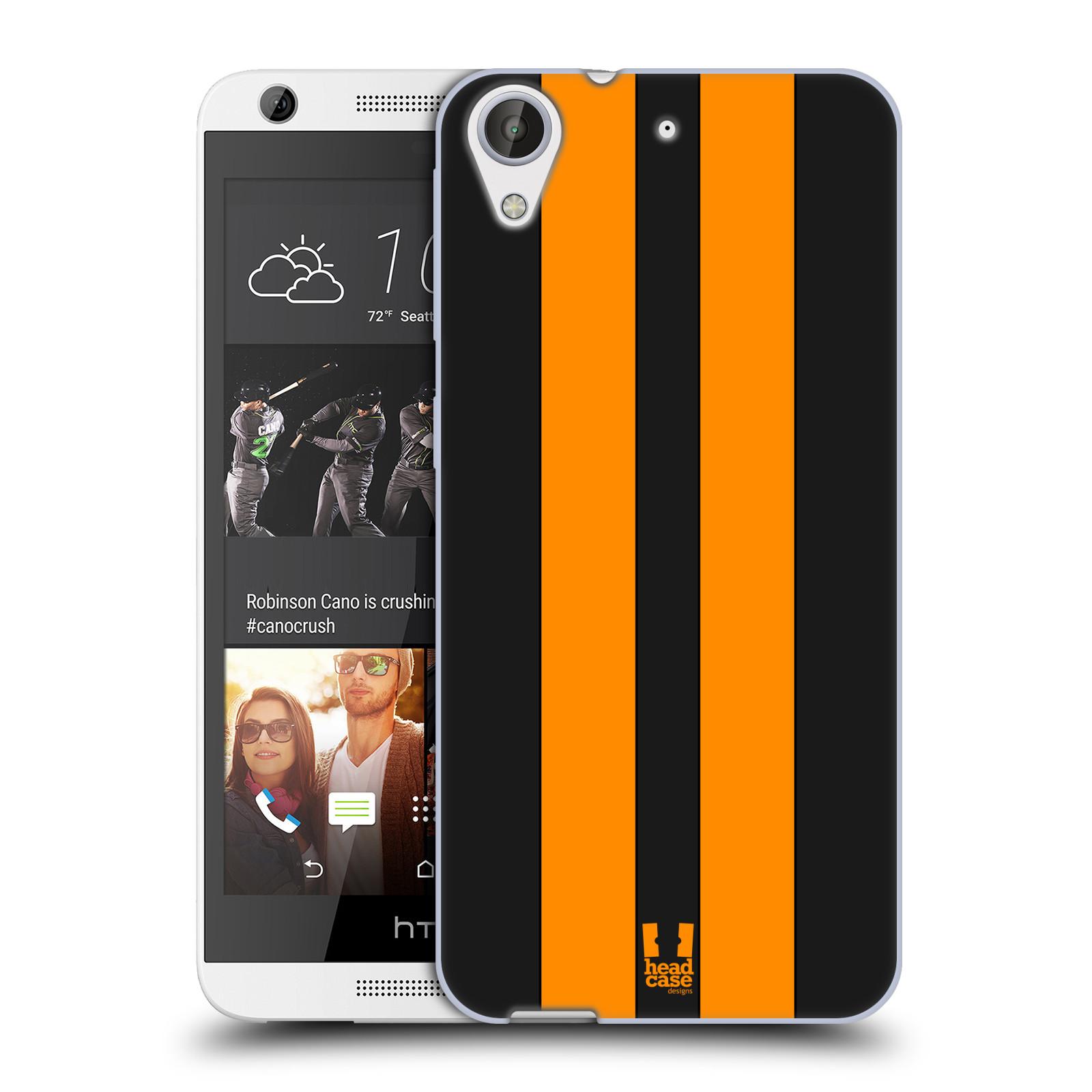 Silikonové pouzdro na mobil HTC Desire 626 / 626G HEAD CASE ŽLUTÉ A ČERNÉ PRUHY (Silikonový kryt či obal na mobilní telefon HTC Desire 626 a 626G Dual SIM)