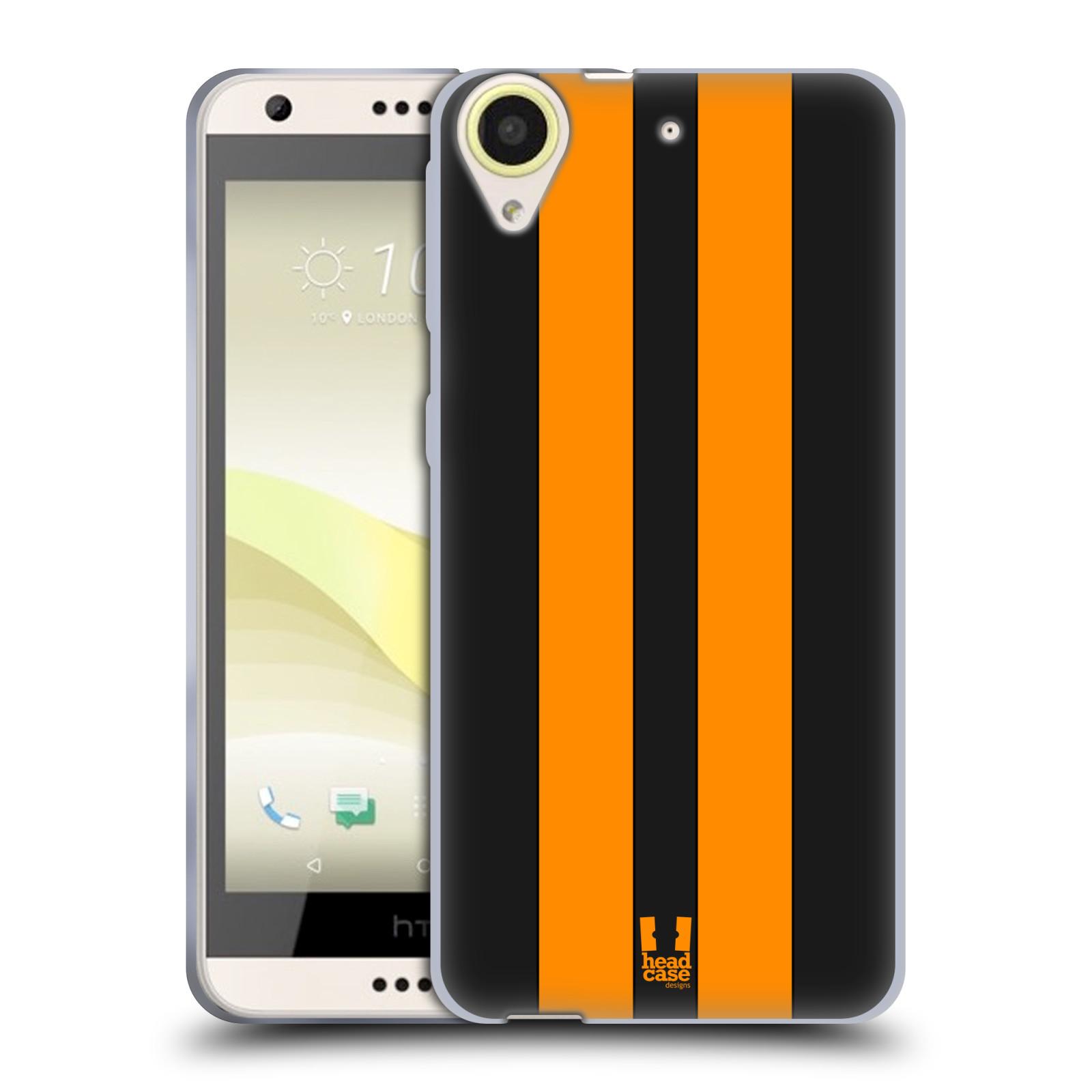 Silikonové pouzdro na mobil HTC Desire 650 HEAD CASE ŽLUTÉ A ČERNÉ PRUHY (Silikonový kryt či obal na mobilní telefon HTC Desire 650)