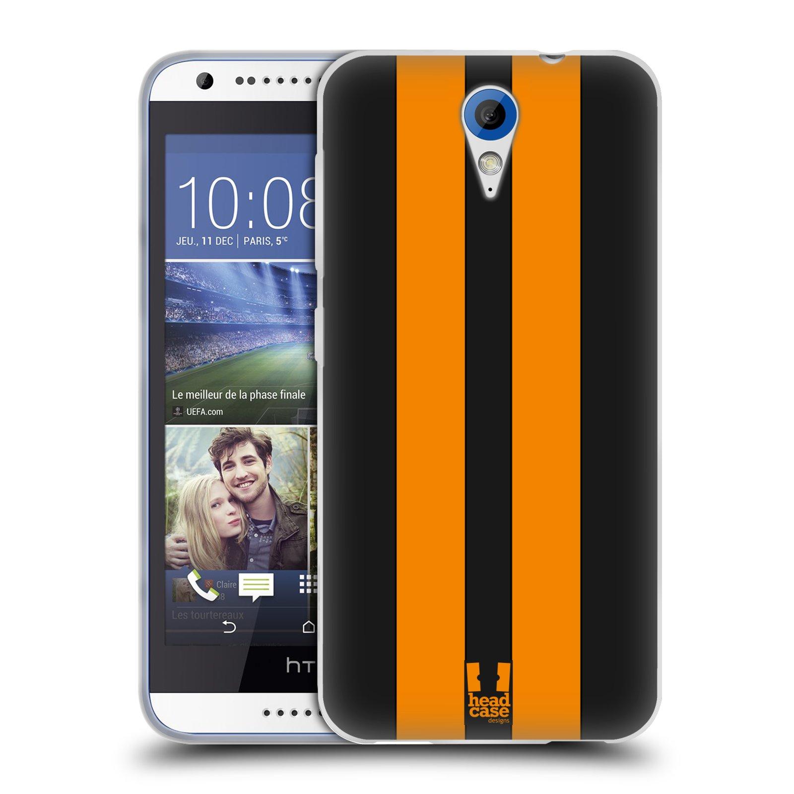 Silikonové pouzdro na mobil HTC Desire 620 HEAD CASE ŽLUTÉ A ČERNÉ PRUHY (Silikonový kryt či obal na mobilní telefon HTC Desire 620)