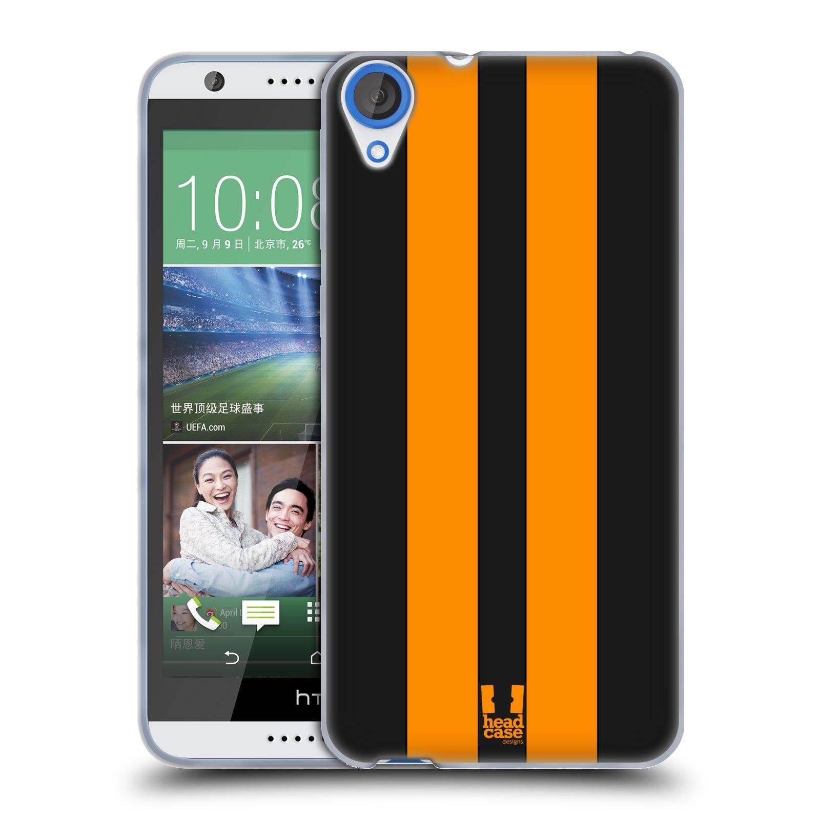 Silikonové pouzdro na mobil HTC Desire 820 HEAD CASE ŽLUTÉ A ČERNÉ PRUHY (Silikonový kryt či obal na mobilní telefon HTC Desire 820)