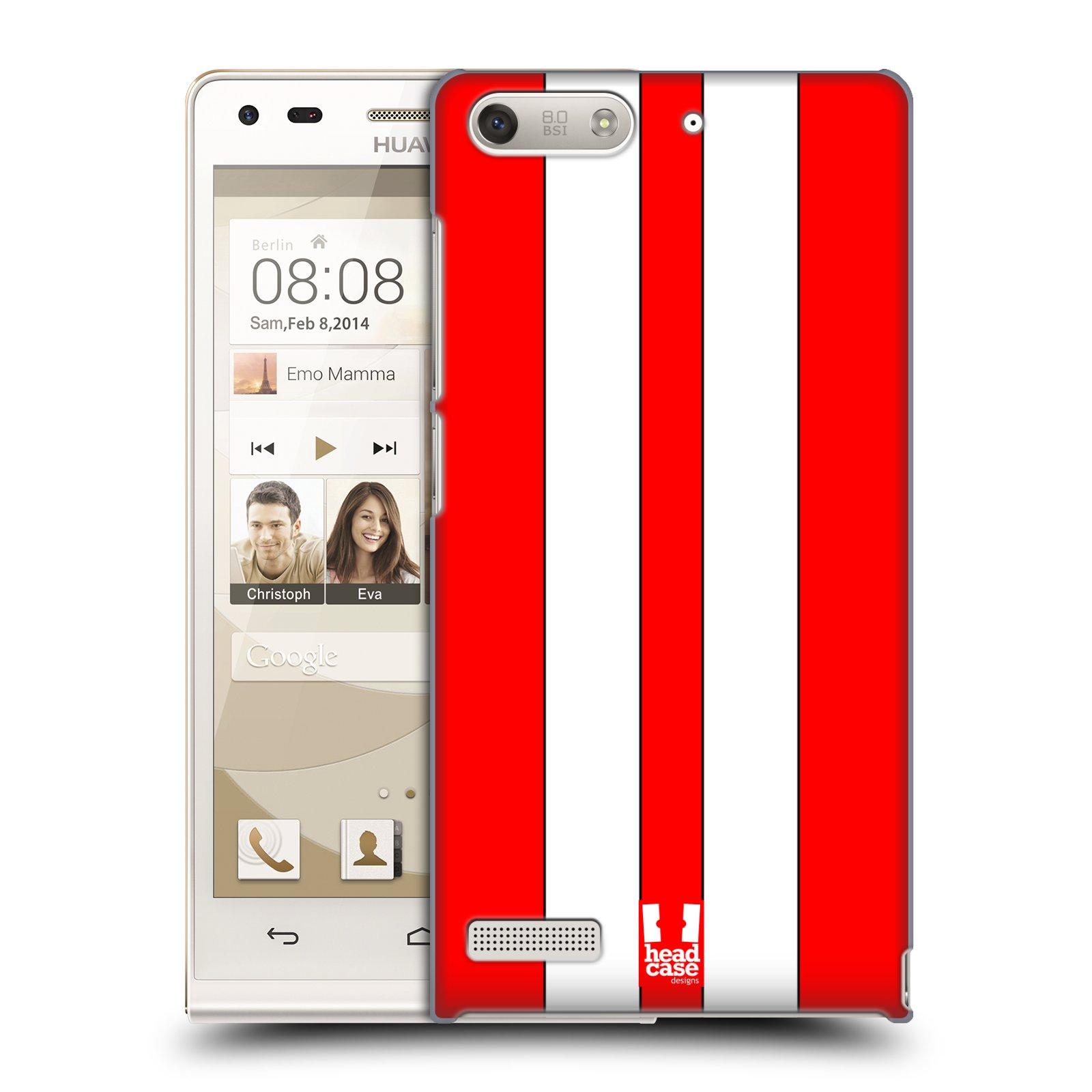 Plastové pouzdro na mobil Huawei Ascend G6 HEAD CASE ČERVENÉ A BÍLÉ PRUHY (Kryt či obal na mobilní telefon Huawei Ascend G6 bez LTE)