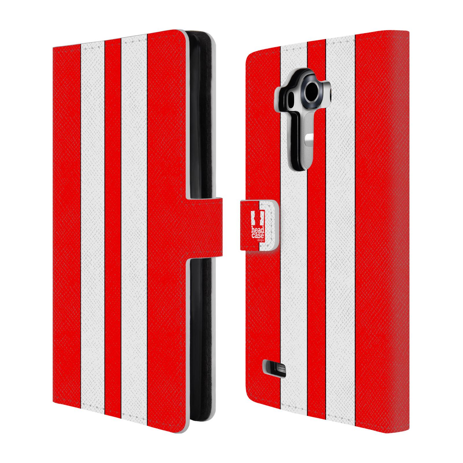 Flipové pouzdro na mobil LG G4 HEAD CASE ČERVENÉ A BÍLÉ PRUHY (Flipový vyklápěcí kryt či obal z umělé kůže na mobilní telefon LG G4 H815)