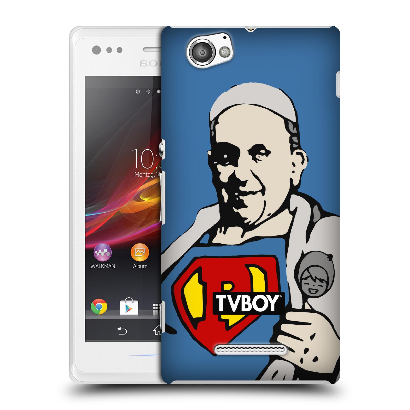 Plastové pouzdro na mobil Sony Xperia M C1905 HEAD CASE - TVBOY - Super Papež (Kryt či obal na mobilní telefon s licencovaným motivem TVBOY pro Sony Xperia M )