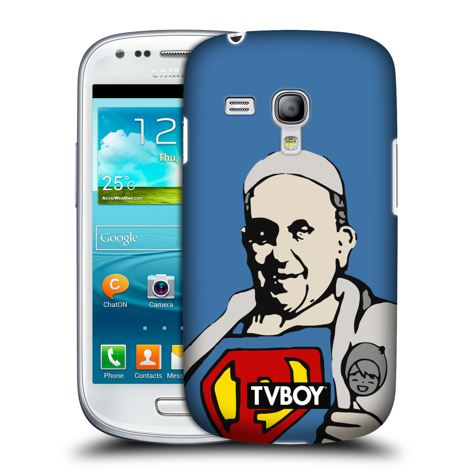 Plastové pouzdro na mobil Samsung Galaxy S III Mini VE HEAD CASE - TVBOY - Super Papež (Kryt či obal na mobilní telefon s licencovaným motivem TVBOY pro Samsung Galaxy S3 Mini VE GT-i8200)