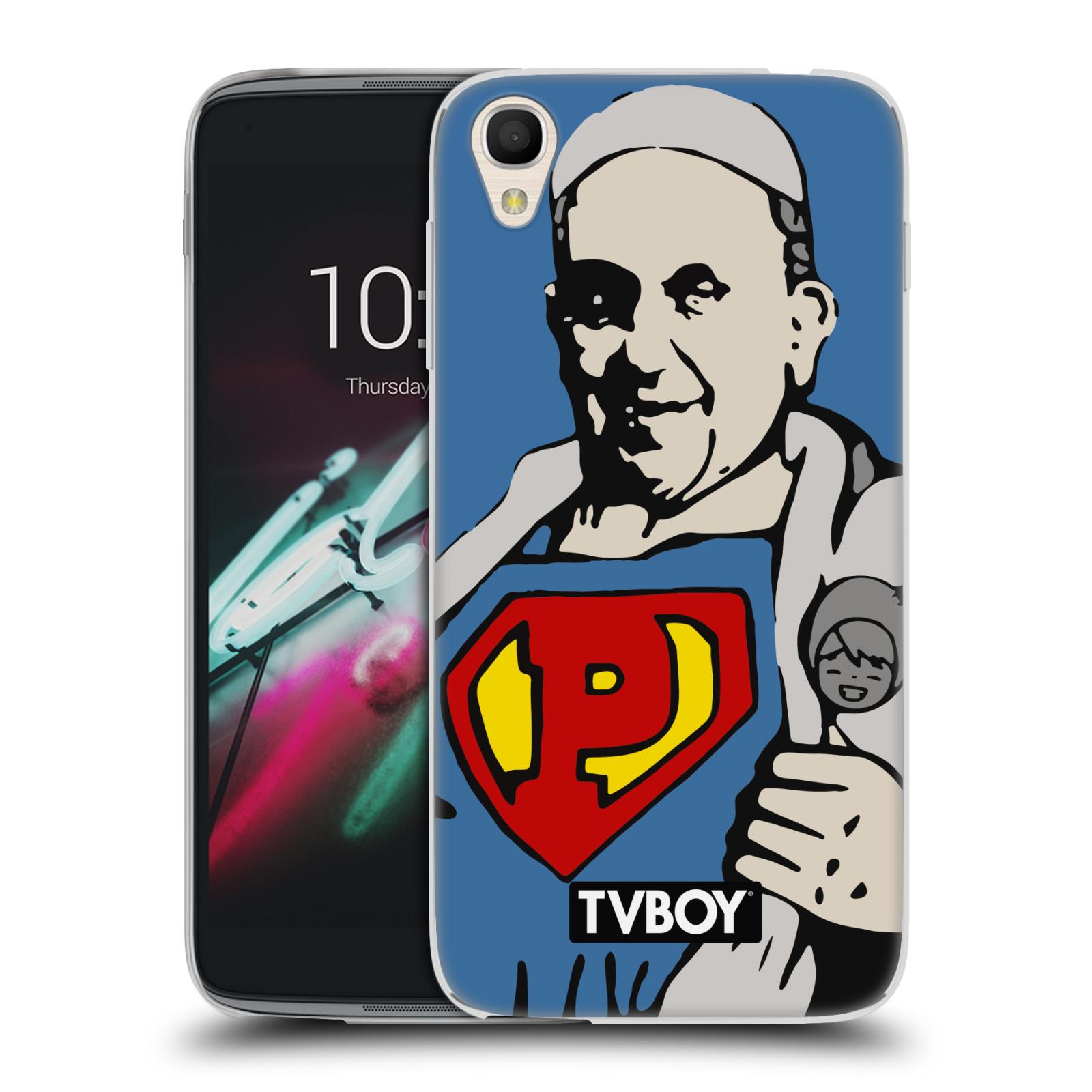 """Silikonové pouzdro na mobil Alcatel One Touch 6039Y Idol 3 HEAD CASE - TVBOY - Super Papež (Silikonový kryt či obal na mobilní telefon s licencovaným motivem TVBOY pro Alcatel One Touch Idol 3 OT-6039Y s 4,7"""" displejem)"""