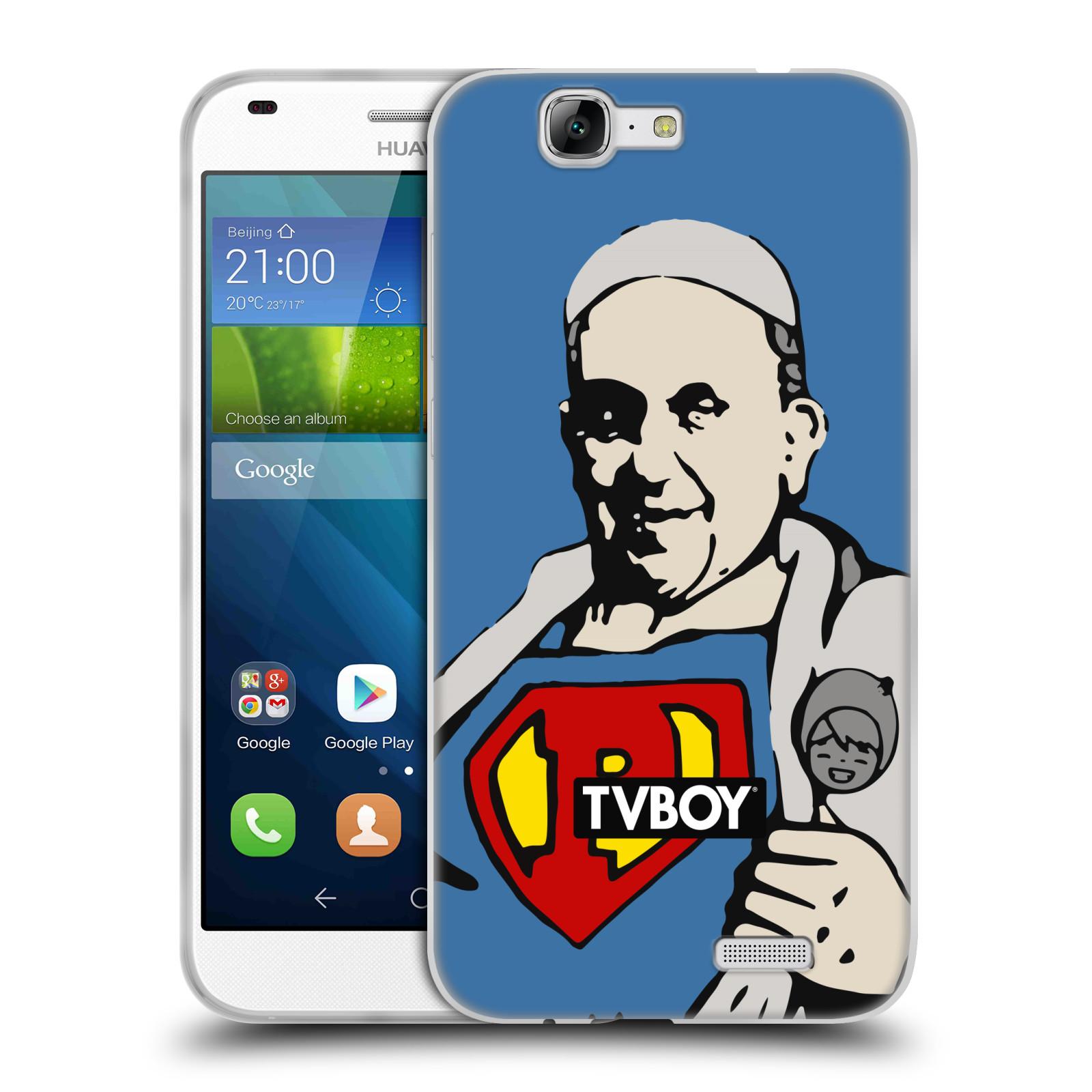 Silikonové pouzdro na mobil Huawei Ascend G7 HEAD CASE - TVBOY - Super Papež (Silikonový kryt či obal na mobilní telefon s licencovaným motivem TVBOY pro Huawei Ascend G7)