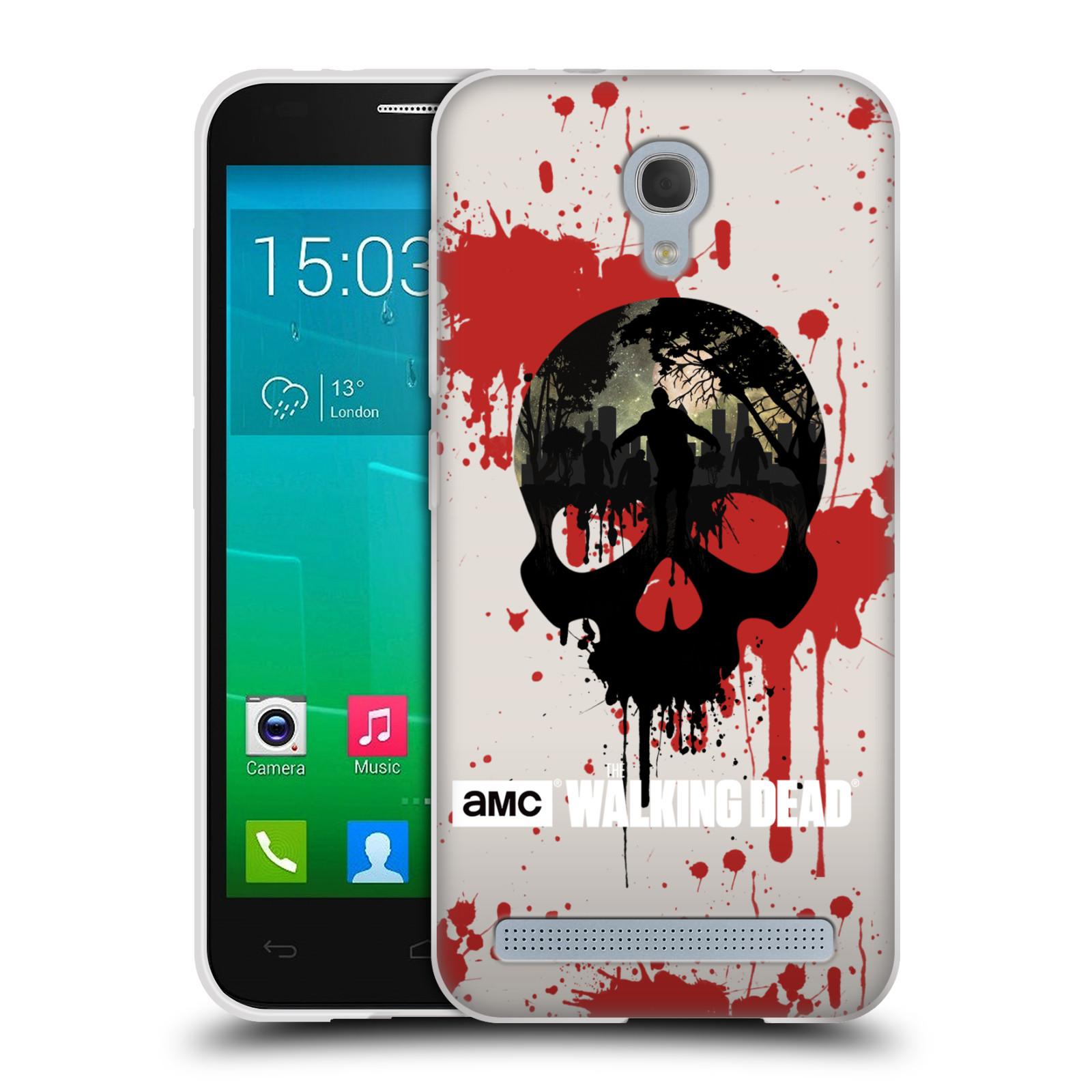 Silikonové pouzdro na mobil Alcatel One Touch Idol 2 Mini S 6036Y HEAD CASE Živí mrtví - Lebka (Silikonový kryt či obal na mobilní telefon s licencovaným motivem Živí mrtví / The Walking Dead pro Alcatel Idol 2 Mini S OT-6036Y)