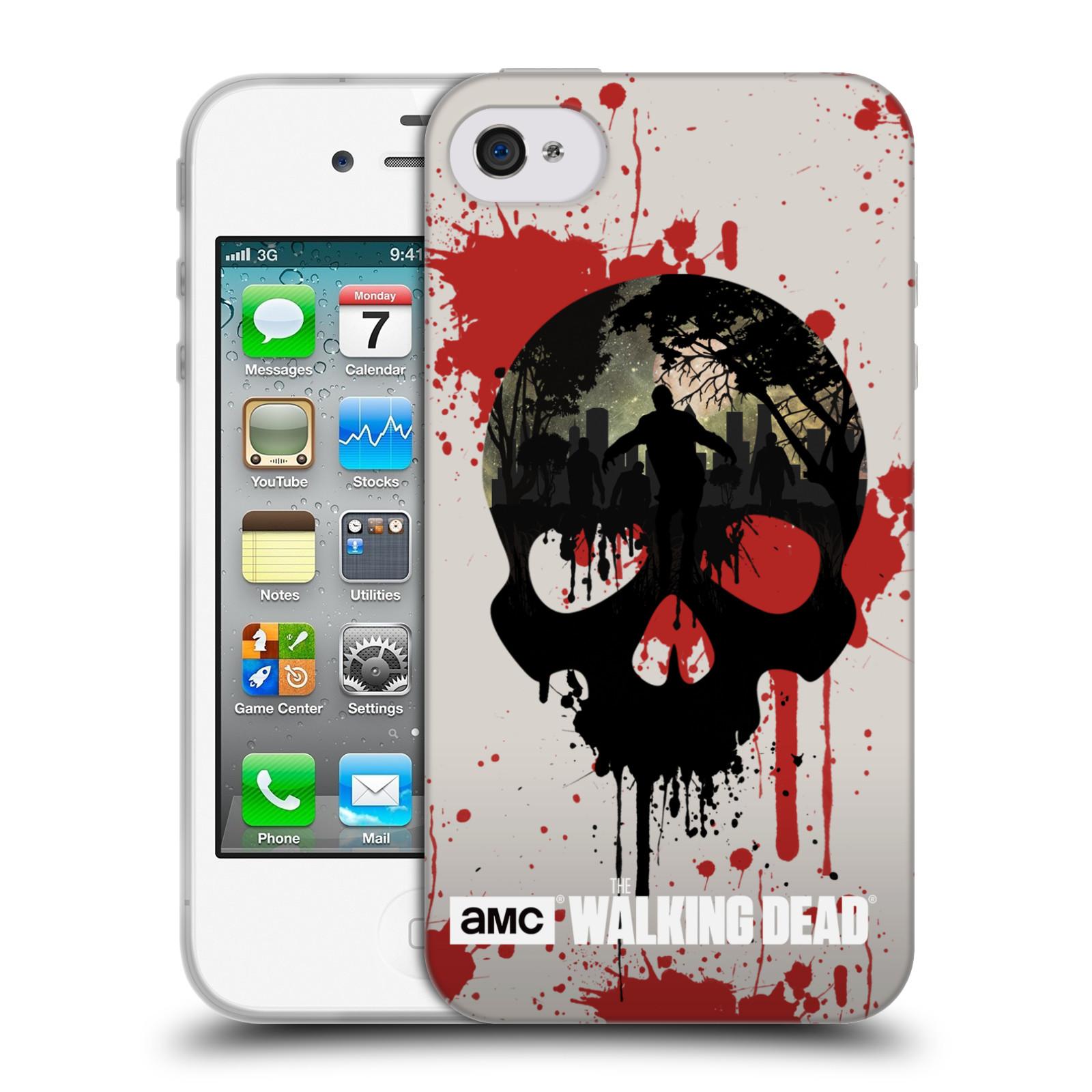 Silikonové pouzdro na mobil Apple iPhone 4 a 4S HEAD CASE Živí mrtví - Lebka