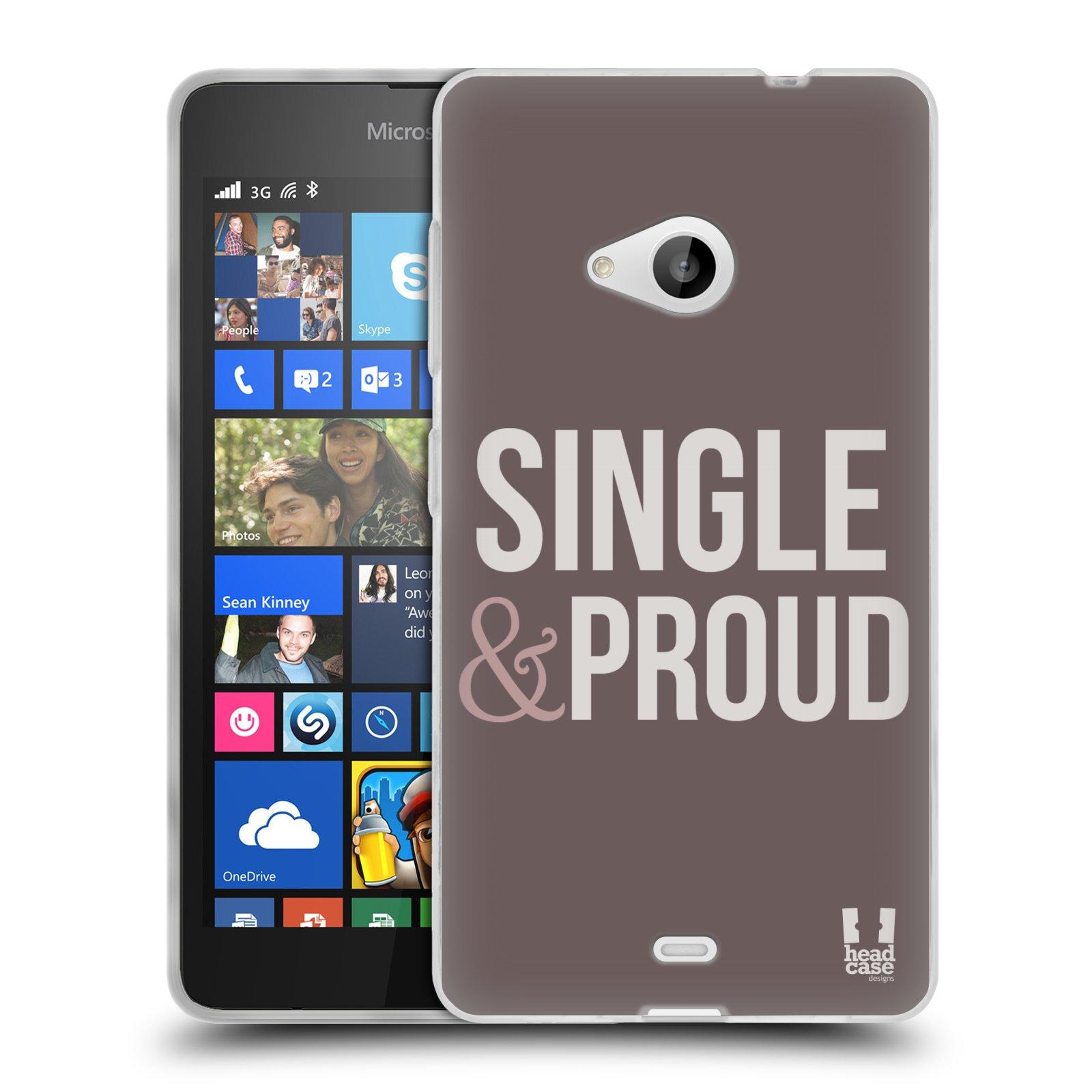 Silikonové pouzdro na mobil Microsoft Lumia 535 HEAD CASE SINGLE AND PROUD (Silikonový kryt či obal na mobilní telefon Microsoft Lumia 535)