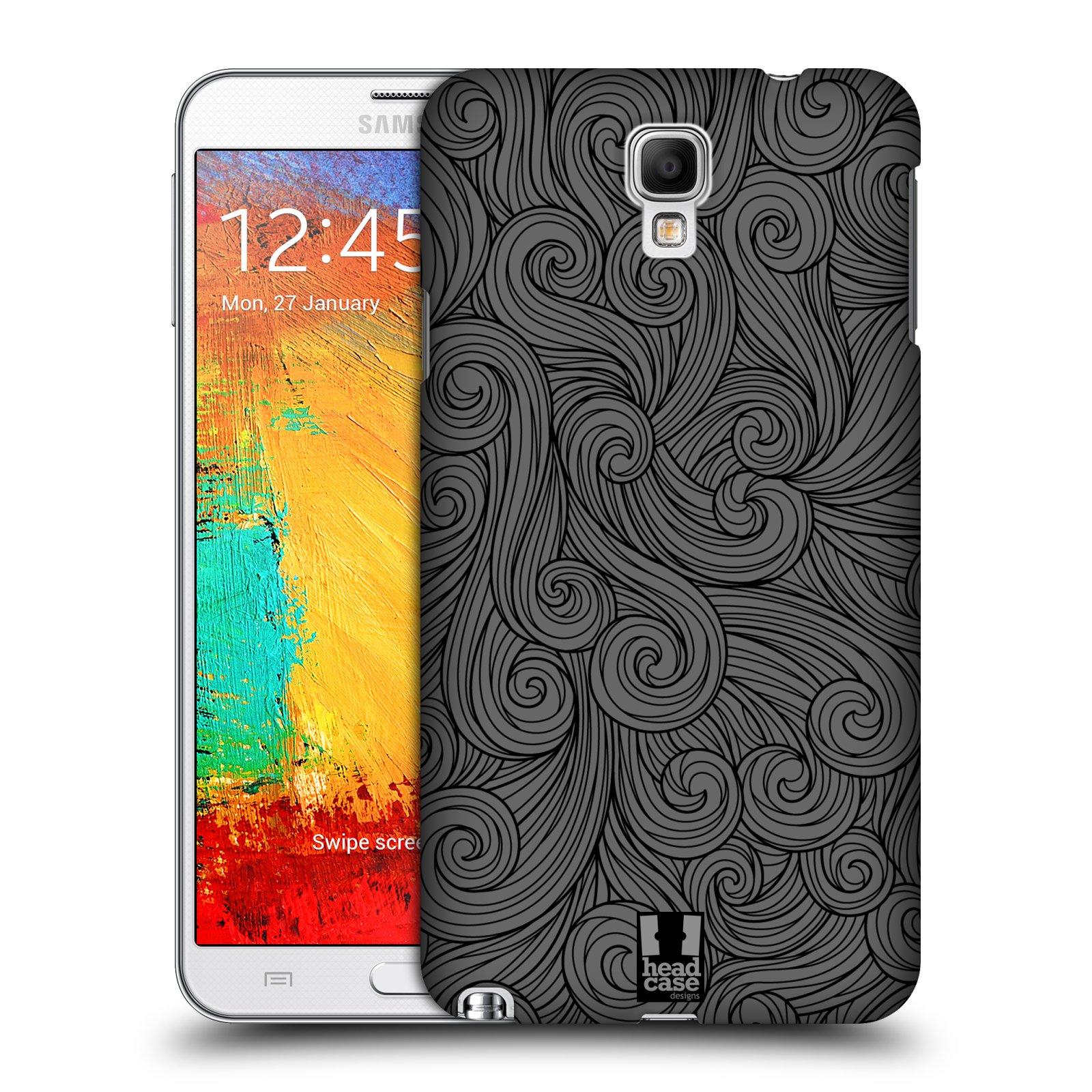 Plastové pouzdro na mobil Samsung Galaxy Note 3 Neo HEAD CASE Dark Grey Swirls (Kryt či obal na mobilní telefon Samsung Galaxy Note 3 Neo SM-N7505)