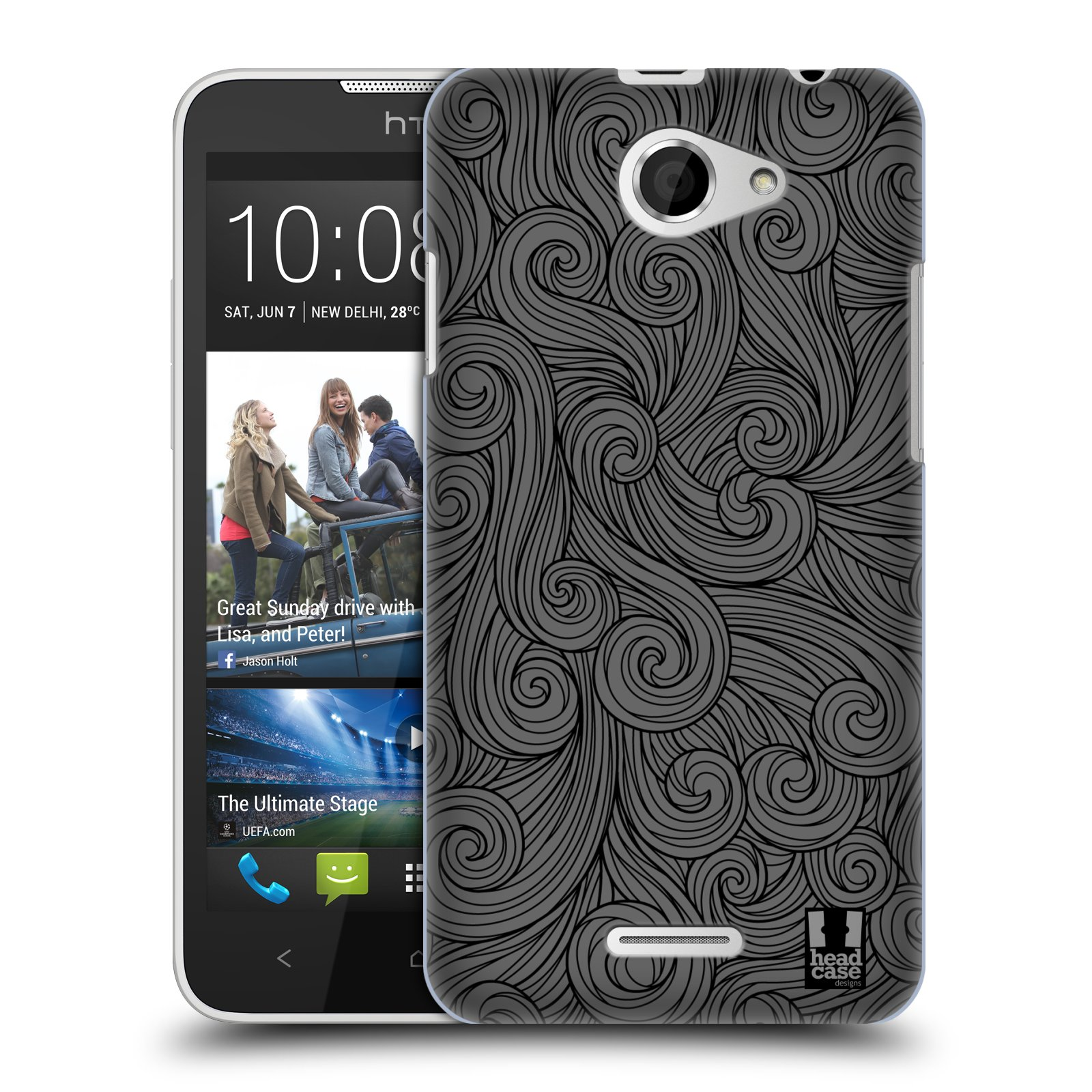 Plastové pouzdro na mobil HTC Desire 516 HEAD CASE Dark Grey Swirls (Kryt či obal na mobilní telefon HTC Desire 516 Dual SIM)
