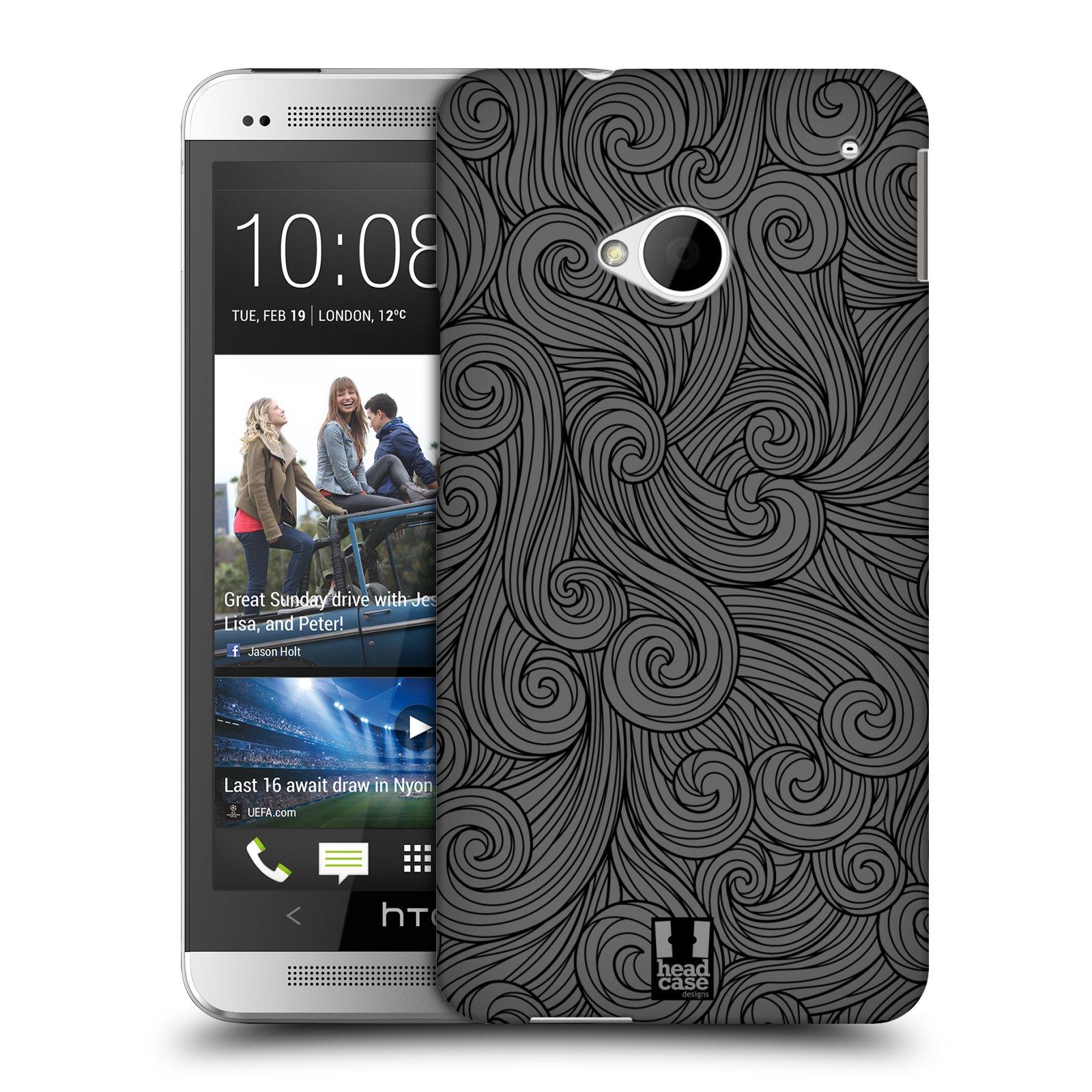 Plastové pouzdro na mobil HTC ONE M7 HEAD CASE Dark Grey Swirls (Kryt či obal na mobilní telefon HTC ONE M7)