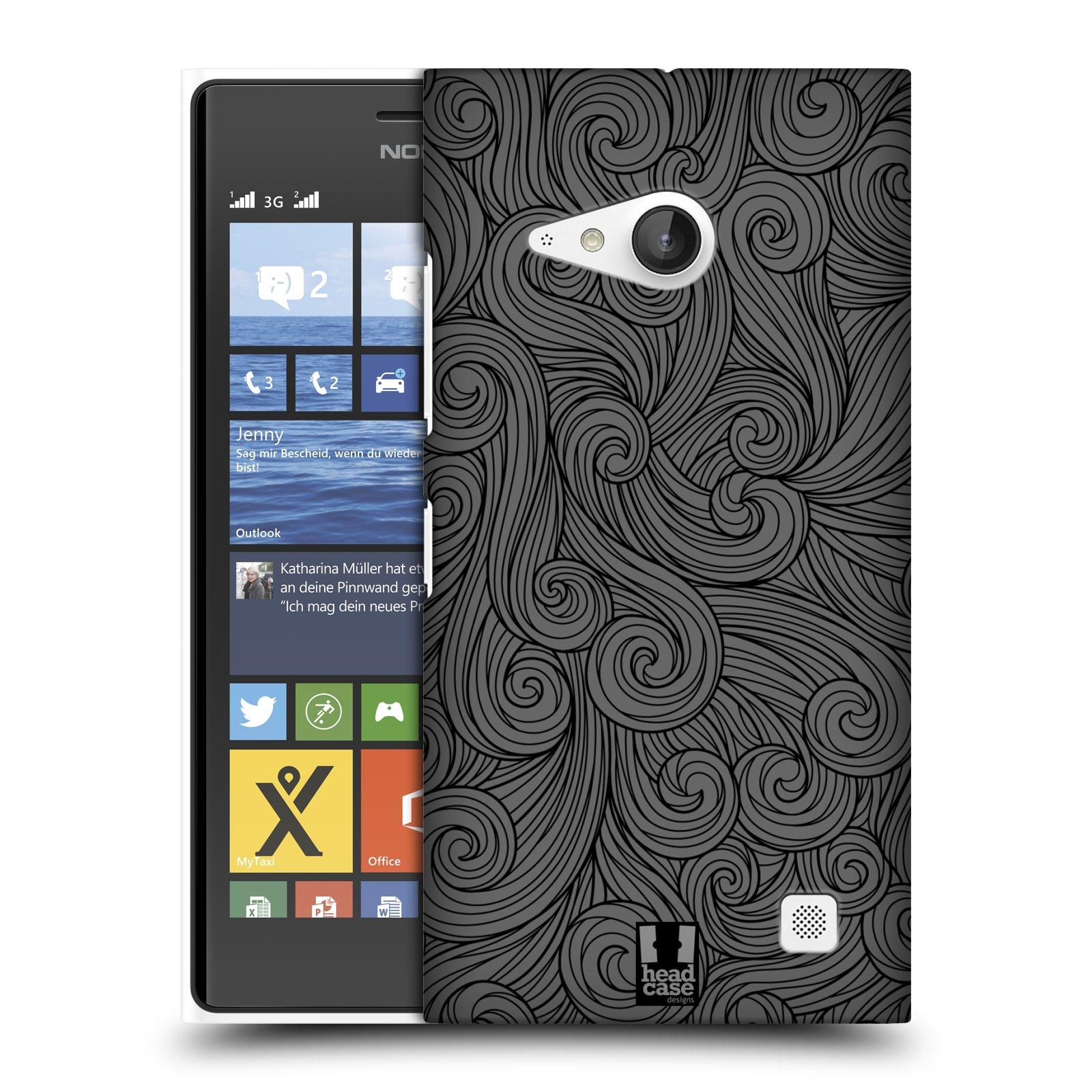 Plastové pouzdro na mobil Nokia Lumia 730 Dual SIM HEAD CASE Dark Grey Swirls (Kryt či obal na mobilní telefon Nokia Lumia 730 Dual SIM)