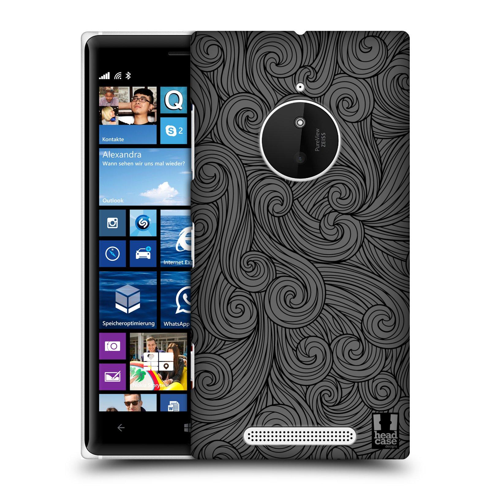 Plastové pouzdro na mobil Nokia Lumia 830 HEAD CASE Dark Grey Swirls (Kryt či obal na mobilní telefon Nokia Lumia 830)