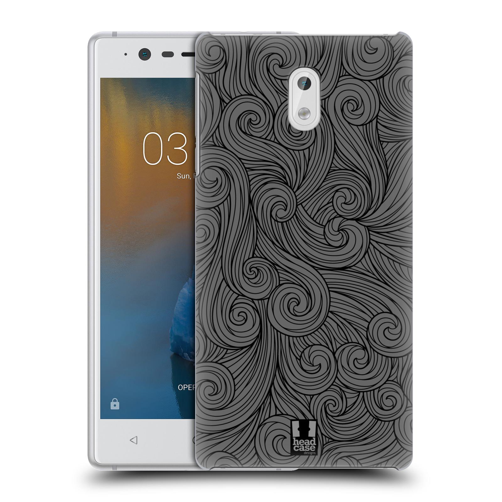 Plastové pouzdro na mobil Nokia 3 Head Case - Dark Grey Swirls (Plastový kryt či obal na mobilní telefon Nokia 3 (2017))