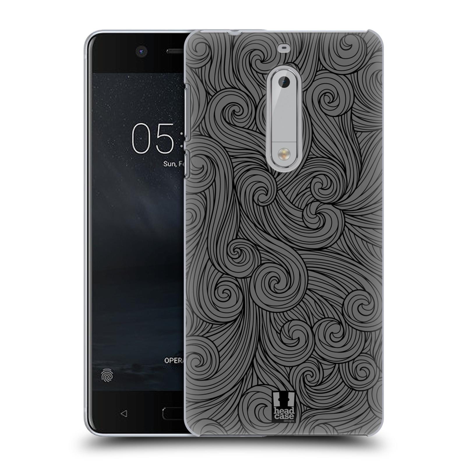 Plastové pouzdro na mobil Nokia 5 Head Case - Dark Grey Swirls (Plastový kryt či obal na mobilní telefon Nokia 5 (2017))