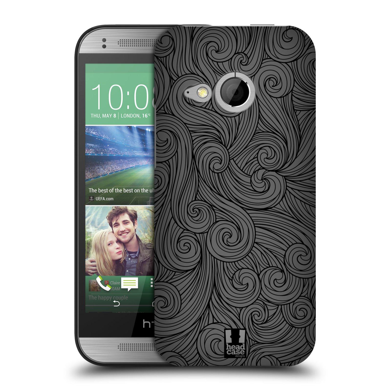 Plastové pouzdro na mobil HTC ONE Mini 2 HEAD CASE Dark Grey Swirls (Kryt či obal na mobilní telefon HTC ONE Mini 2)