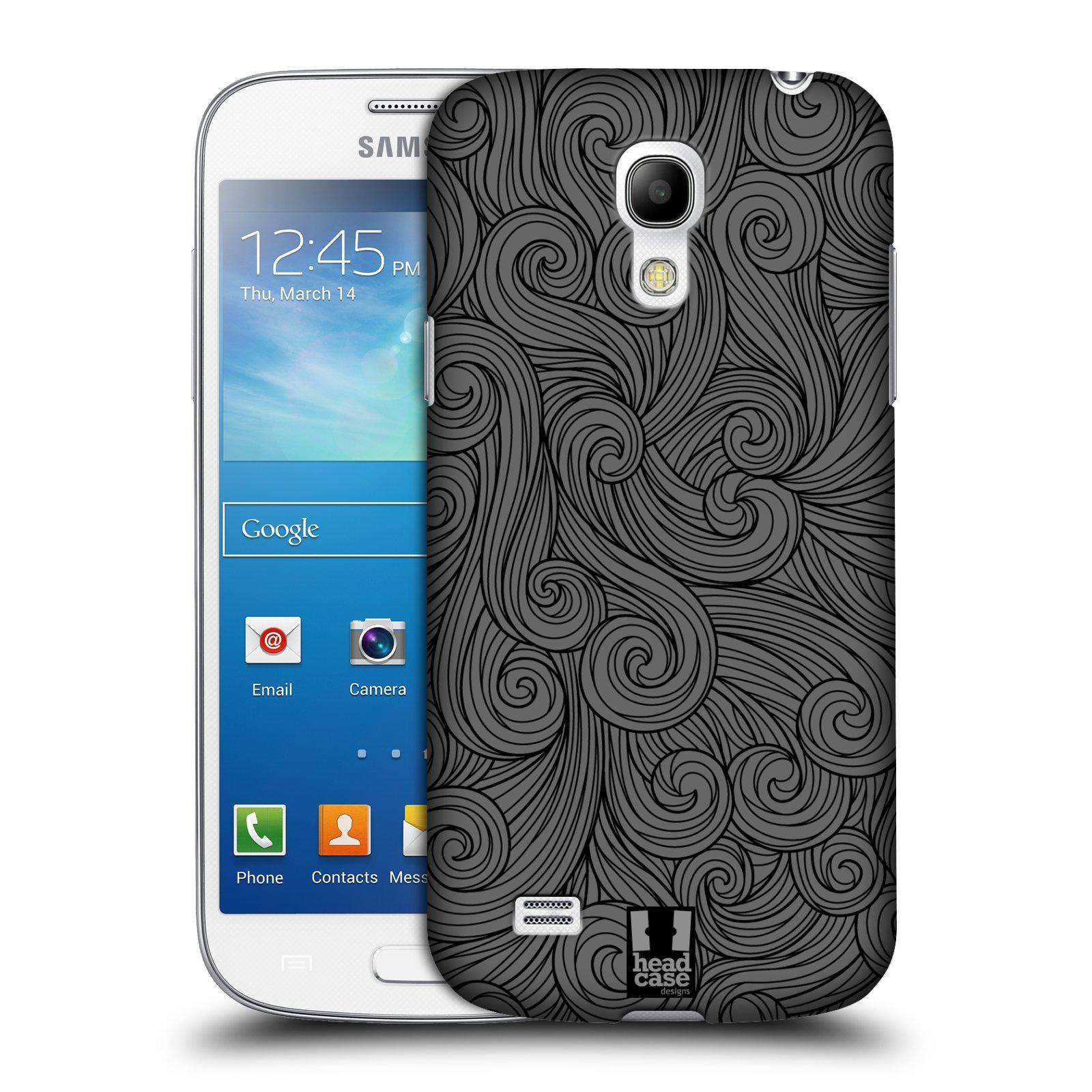 Plastové pouzdro na mobil Samsung Galaxy S4 Mini VE HEAD CASE Dark Grey Swirls (Kryt či obal na mobilní telefon Samsung Galaxy S4 Mini VE GT-i9195i)