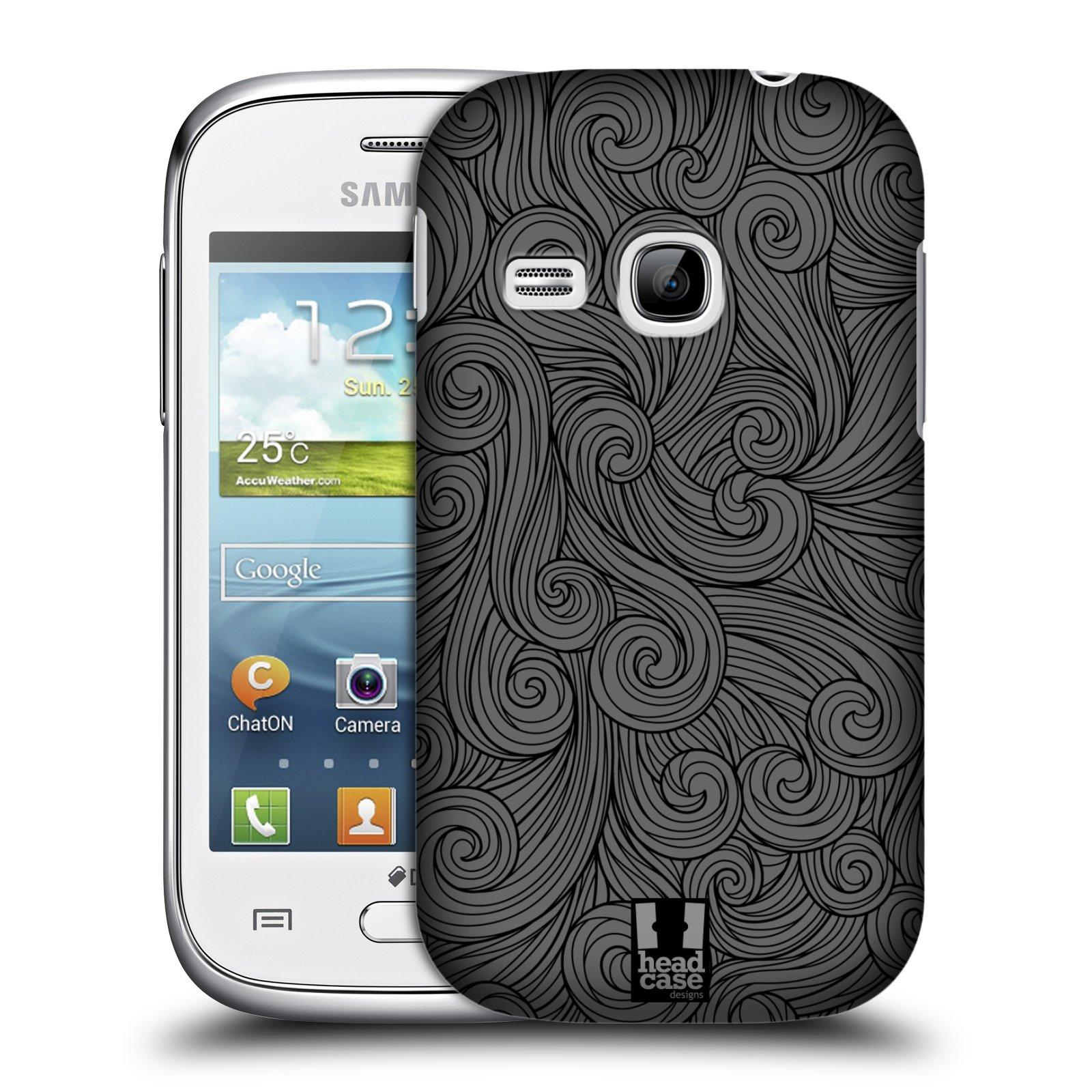 Plastové pouzdro na mobil Samsung Galaxy Young HEAD CASE Dark Grey Swirls (Kryt či obal na mobilní telefon Samsung Galaxy Young GT-S6310)