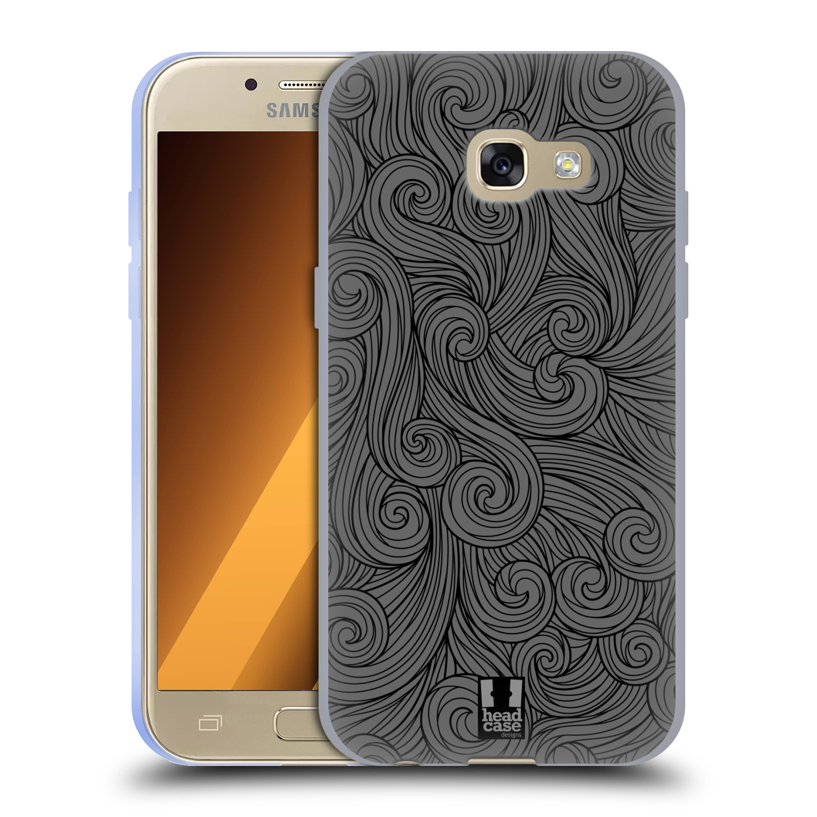 Silikonové pouzdro na mobil Samsung Galaxy A3 (2017) HEAD CASE Dark Grey Swirls