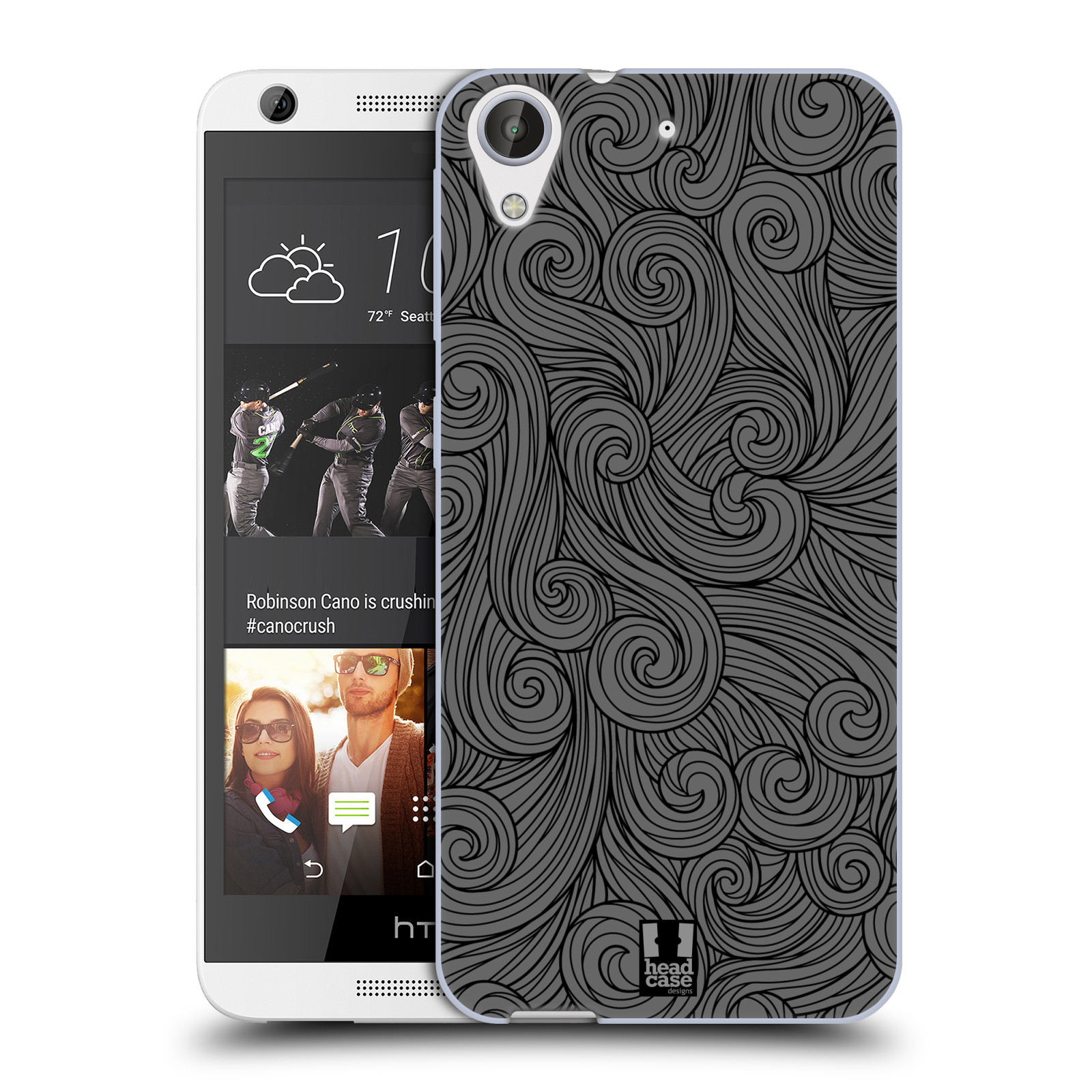 Silikonové pouzdro na mobil HTC Desire 626 / 626G HEAD CASE Dark Grey Swirls (Silikonový kryt či obal na mobilní telefon HTC Desire 626 a 626G Dual SIM)